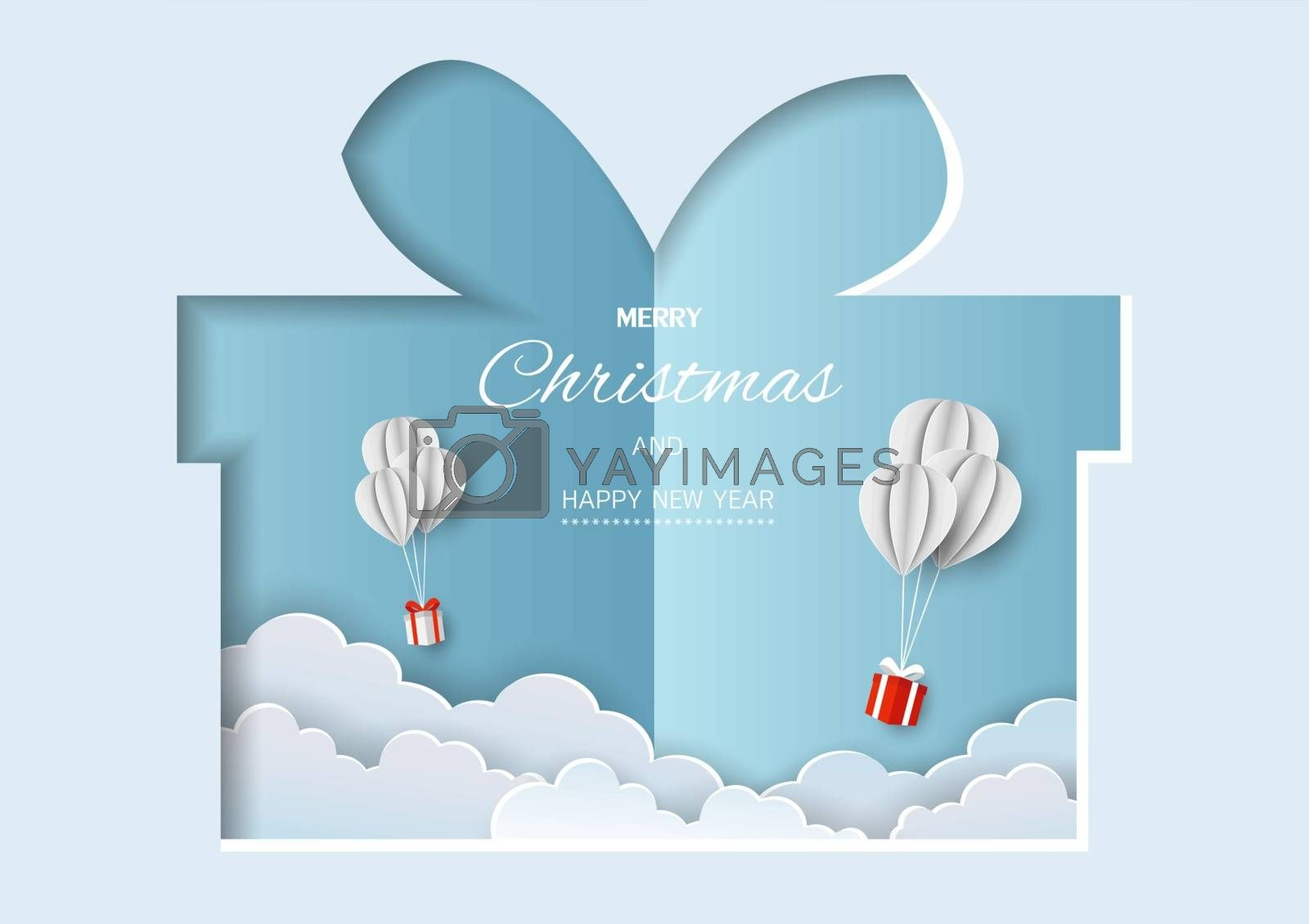 Merry Christmas and Happy new year greeting card,gift boxes flying in the air on paper cut background by PIMPAKA