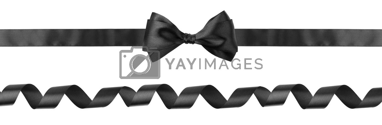 Black curly ribbon and bow isolated on white background, Black friday gift sale concept