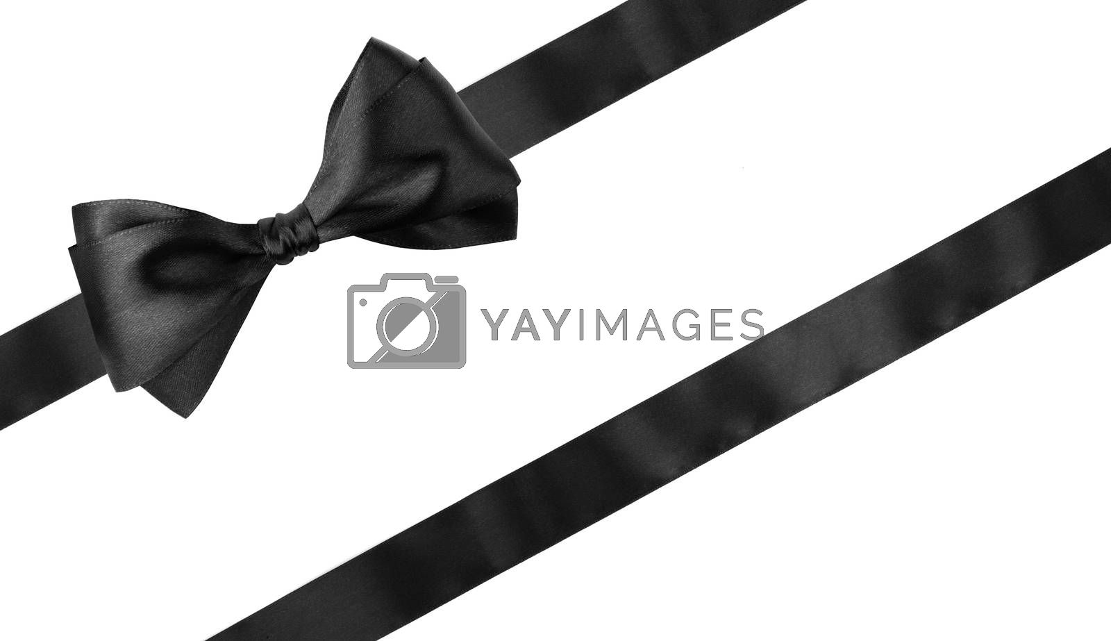 Black ribbon bow isolated on white background, Black friday gift sale concept