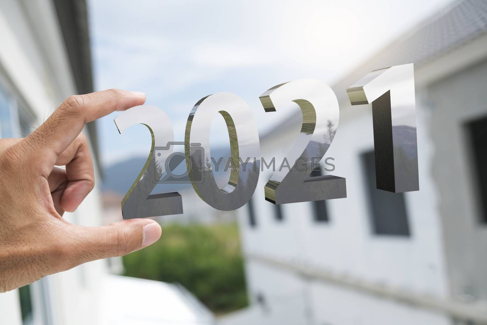 People man hand holding numbers 2021 Metaphor In the new year 2021 festival With open window To get To success In the business world Count down change 2020 to 2021 year