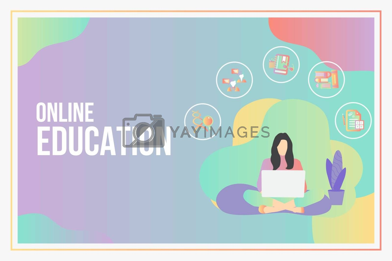 Online education concept with text place.Stay School Learn Study by Zeedoherty