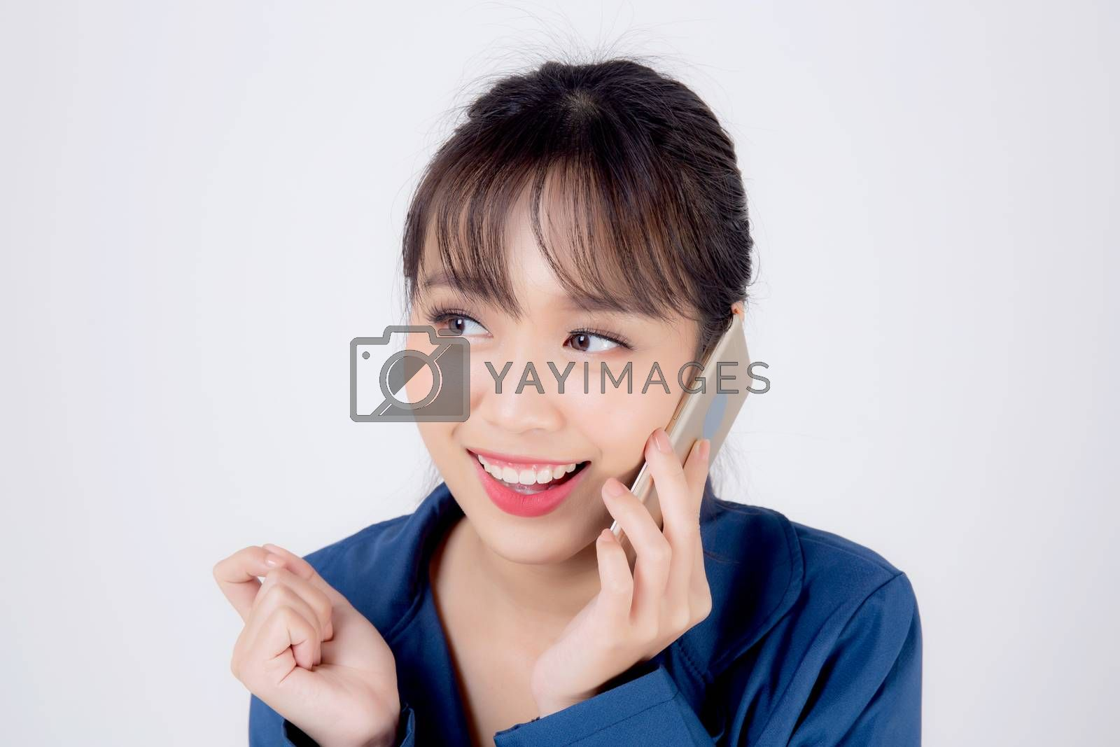 Beautiful portrait young asian business woman talking on smart mobile phone isolated on white background, secretary businesswoman work with phone call with success and excited, communication concept.
