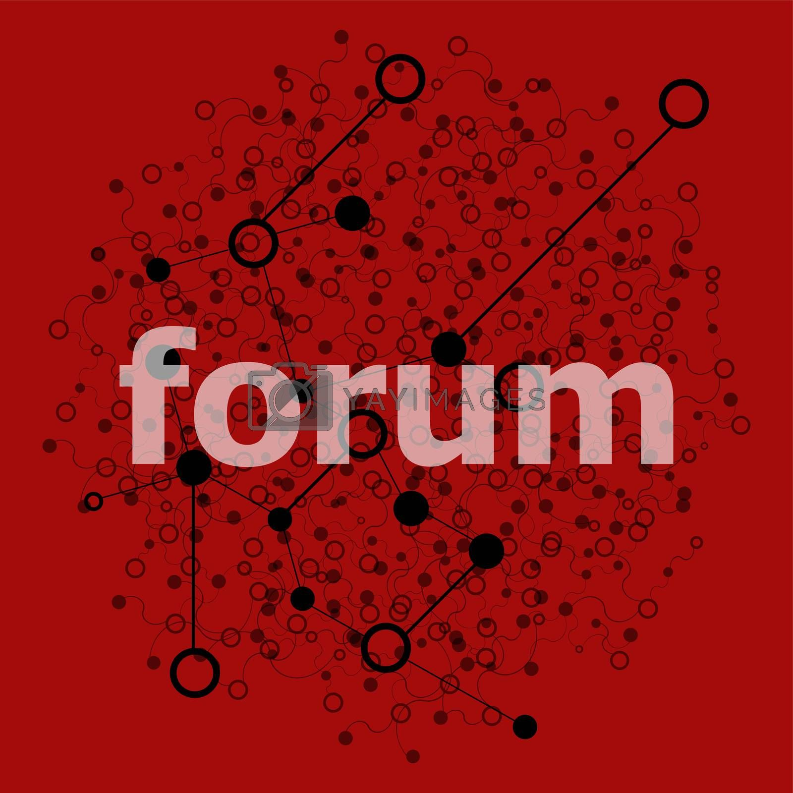 Text Forum. Web design concept . Abstract geometric background with lines, circles and dots