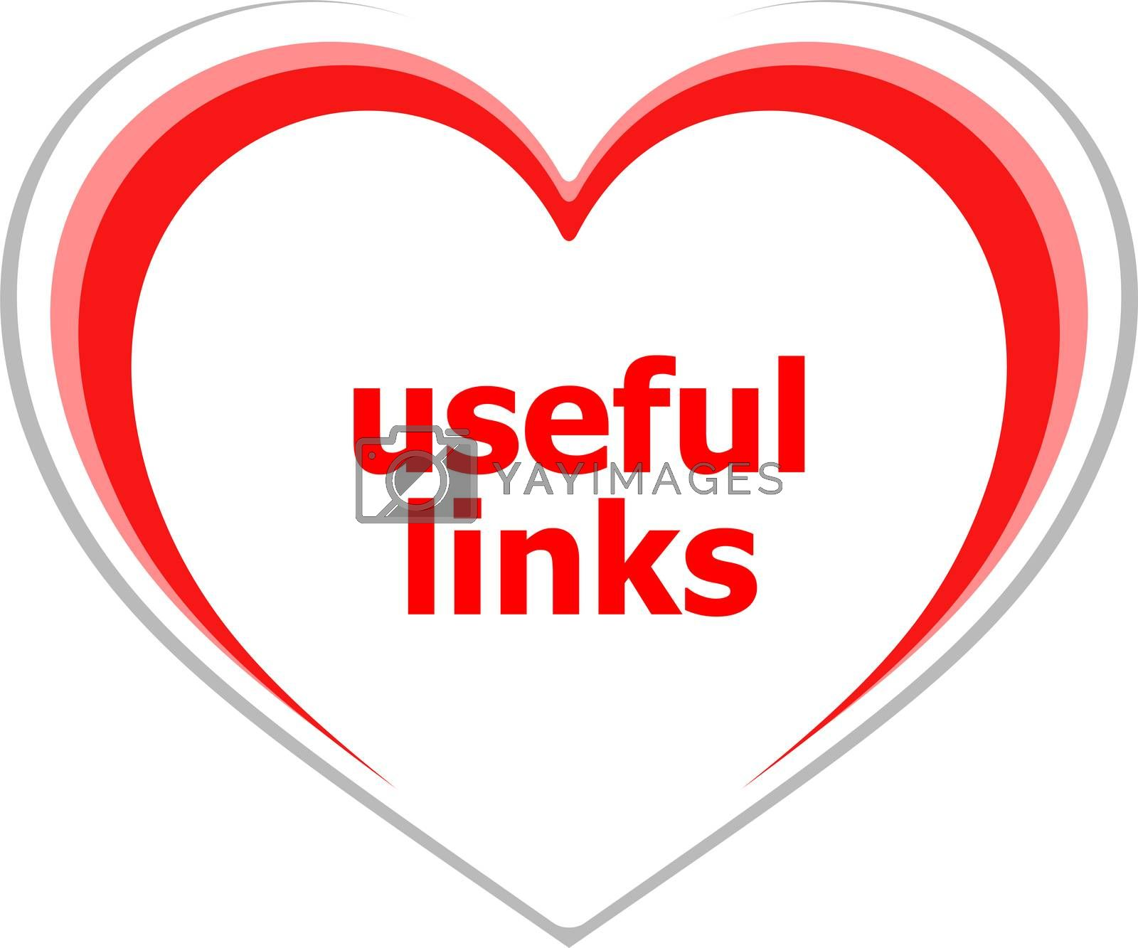 Text useful links. Information concept