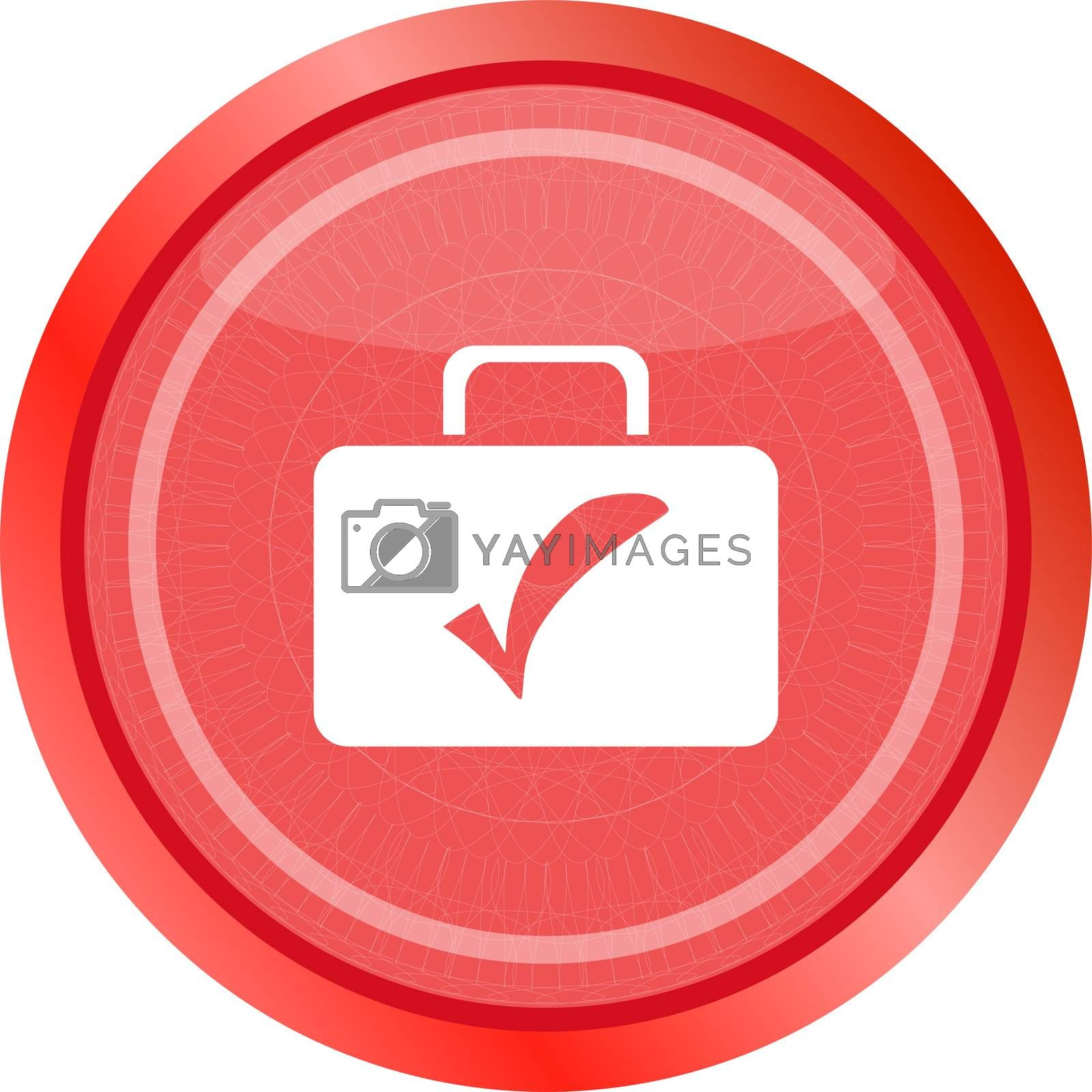 tick mark on business suitcase. web icon isolated on white background