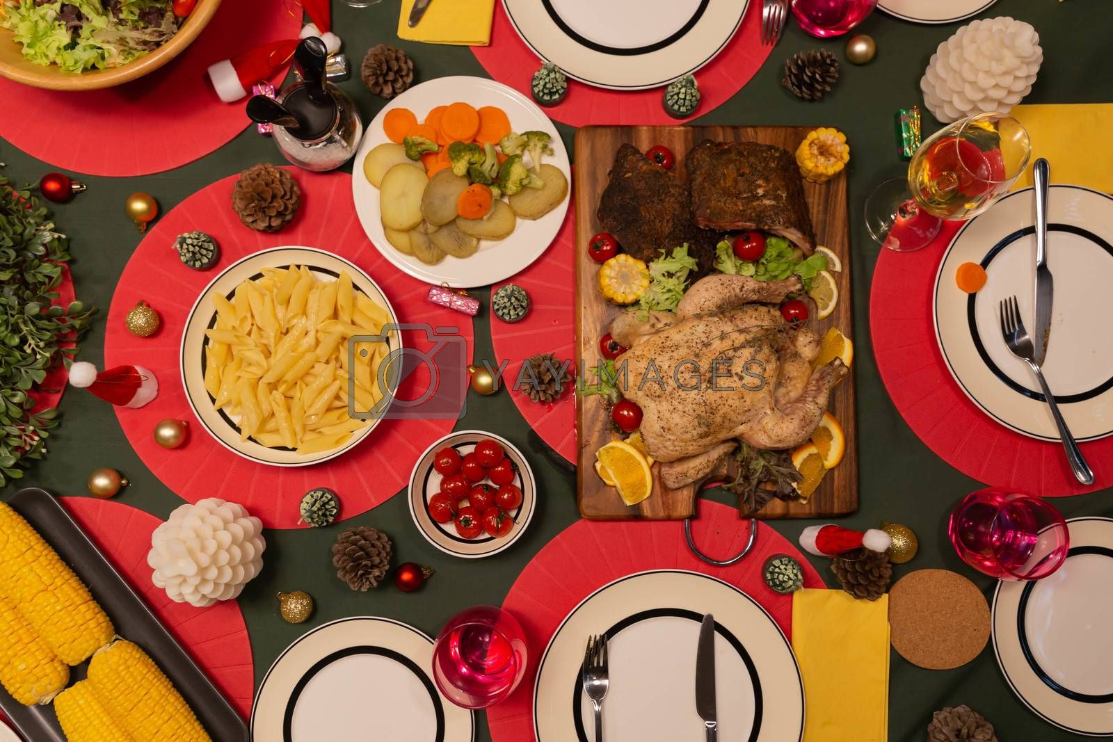 Top view of Christmas family dinner concept