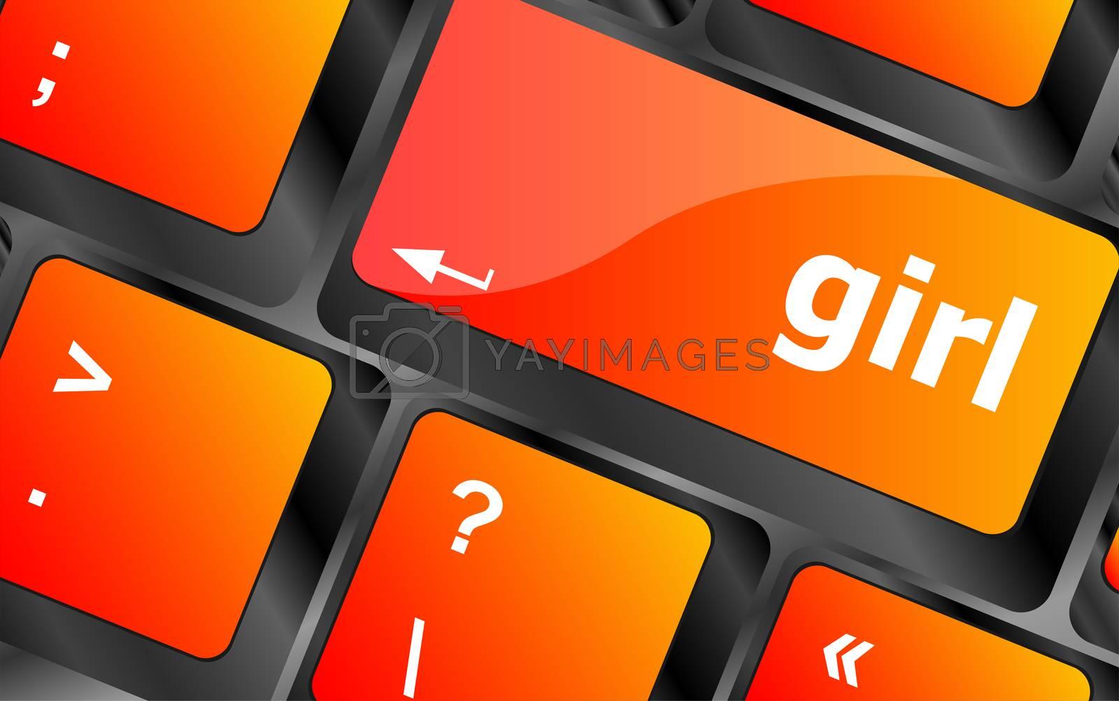 computer keyboard key button - girl. laptop button