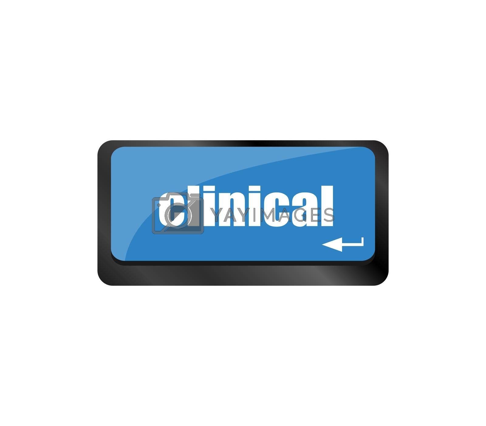 clinical text on laptop computer keyboard,