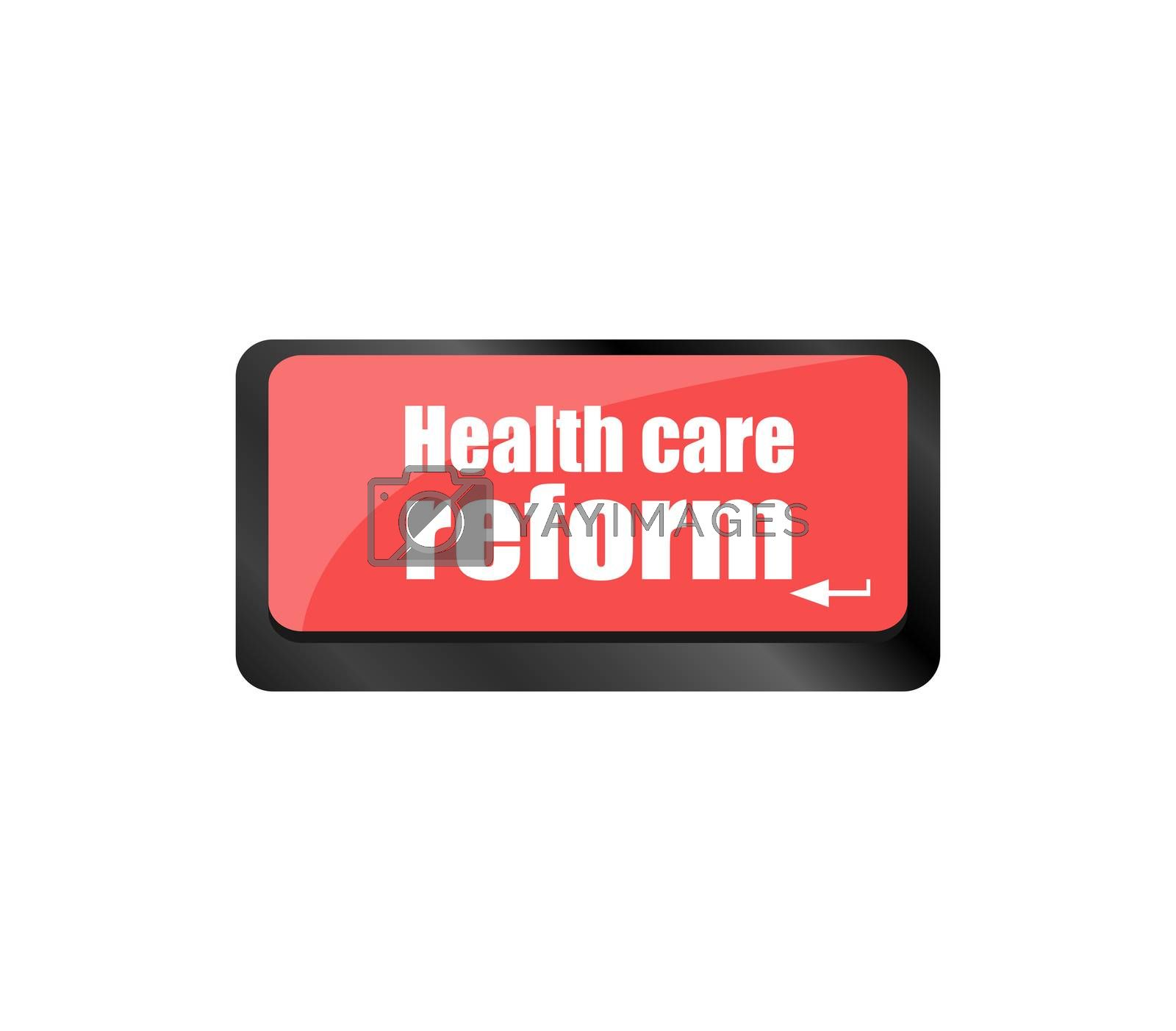 health care reform shown by health computer keyboard button