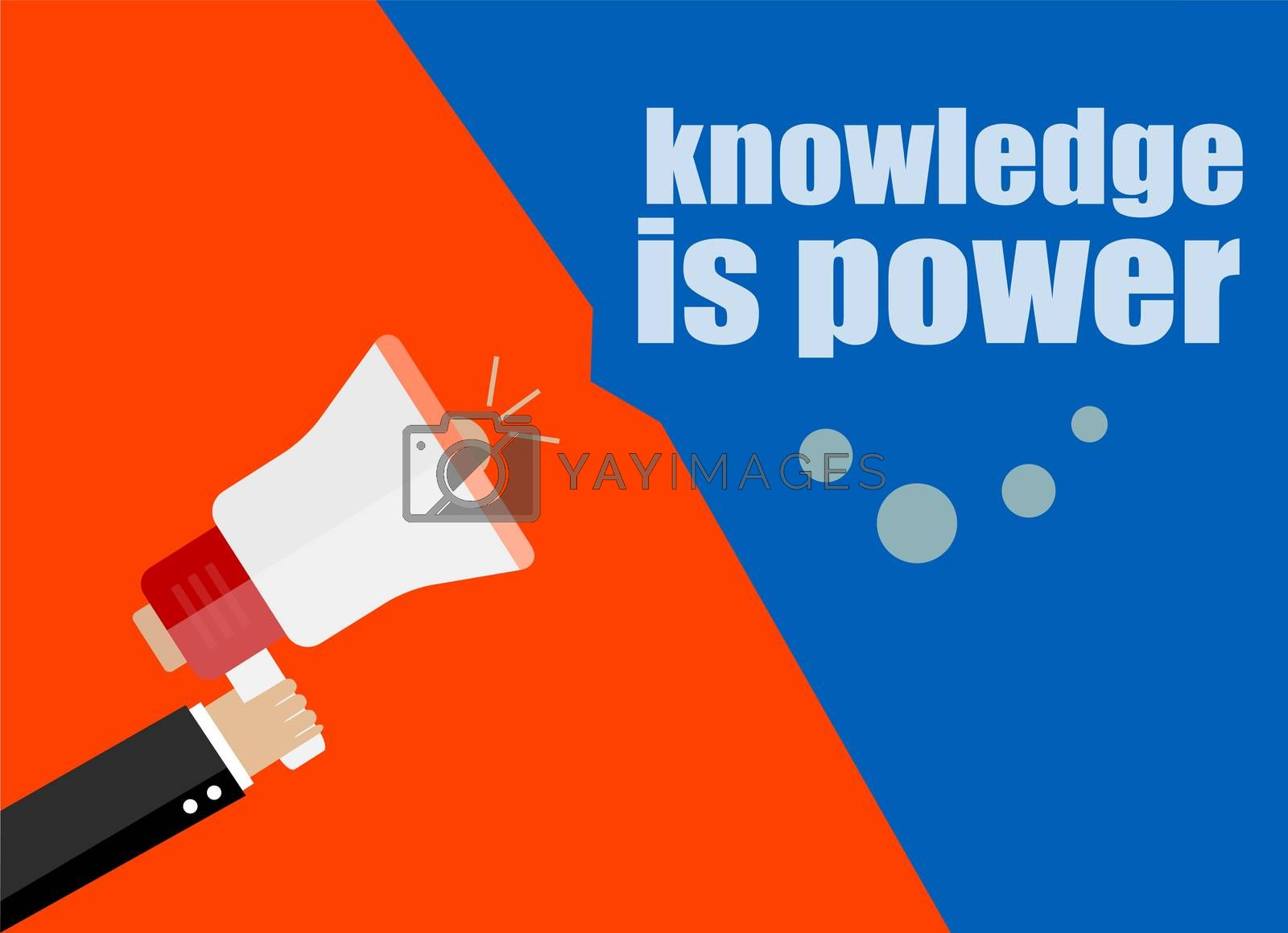 Knowledge is power. Flat design business concept Digital marketing business man holding megaphone for website and promotion banners