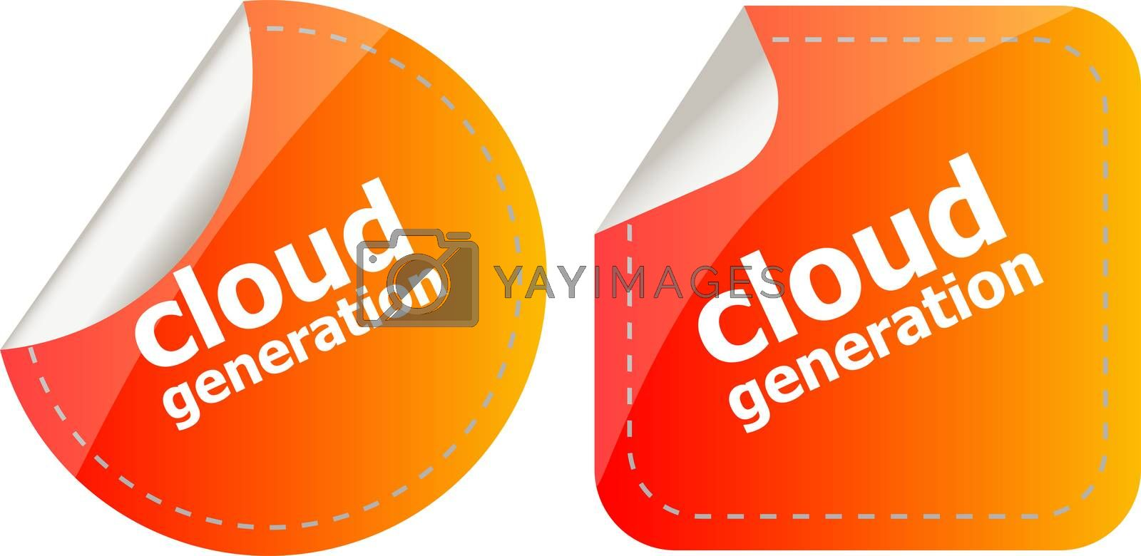 Cloud technology icon, label stickers set isolated