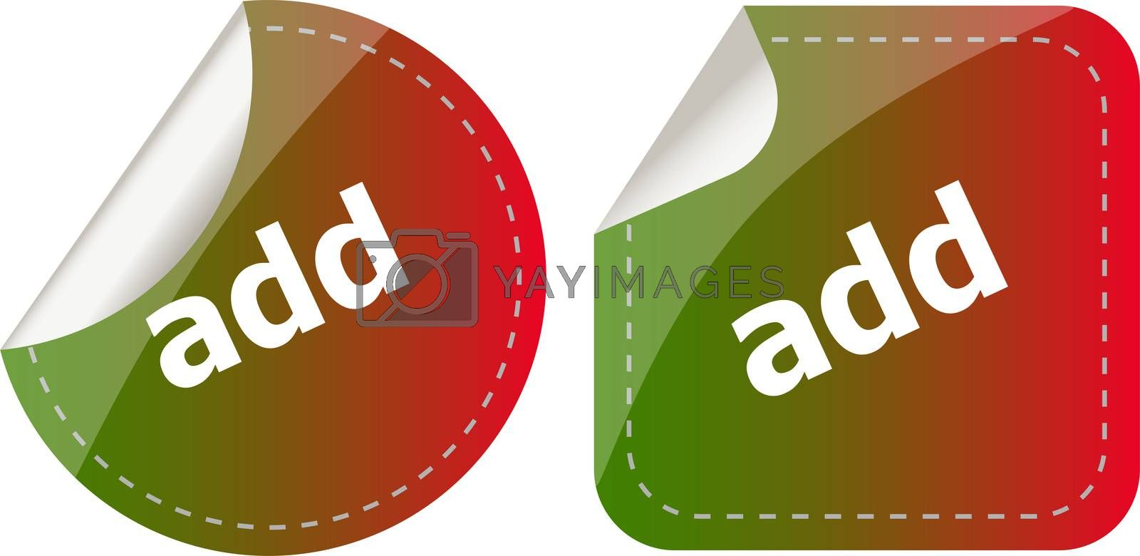 add stickers set, icon button isolated on white
