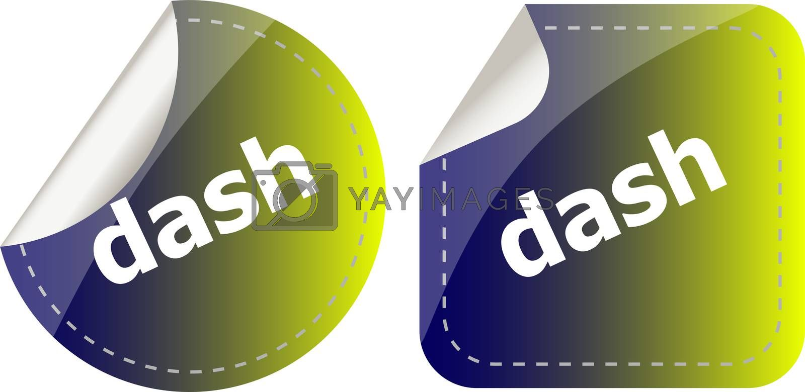 dash word stickers web button set, label, icon