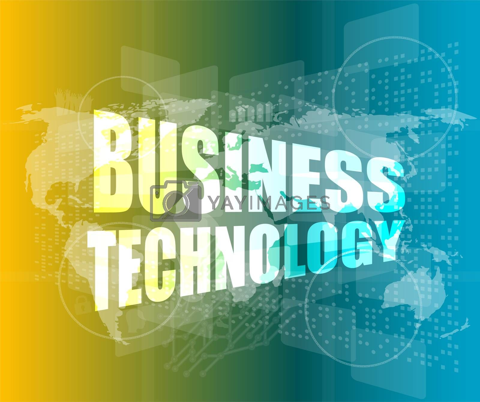 Management concept: business technology words on digital screen