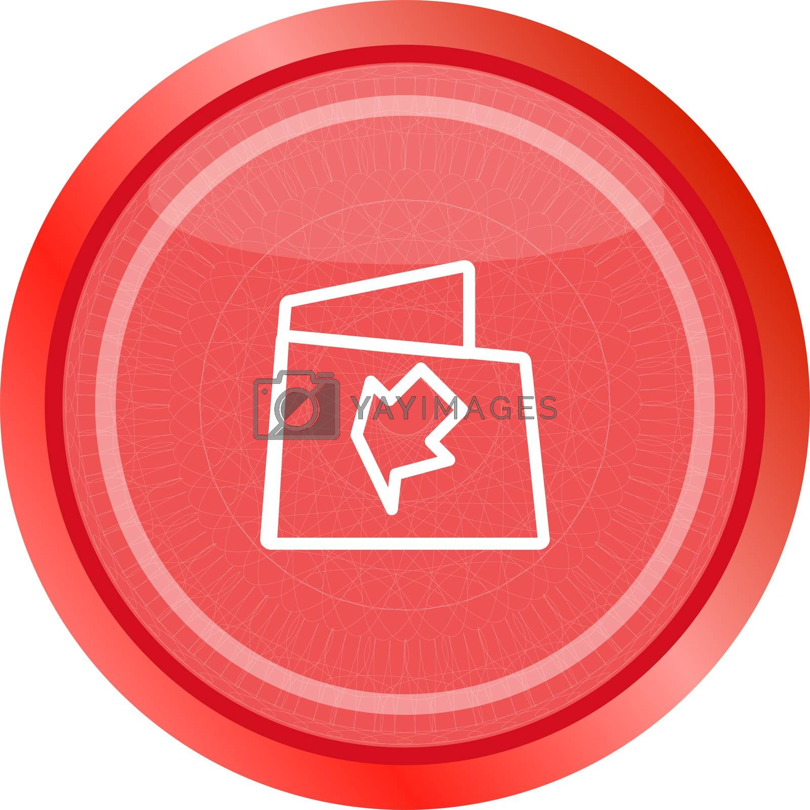 Folder icon web button with map isolated on white