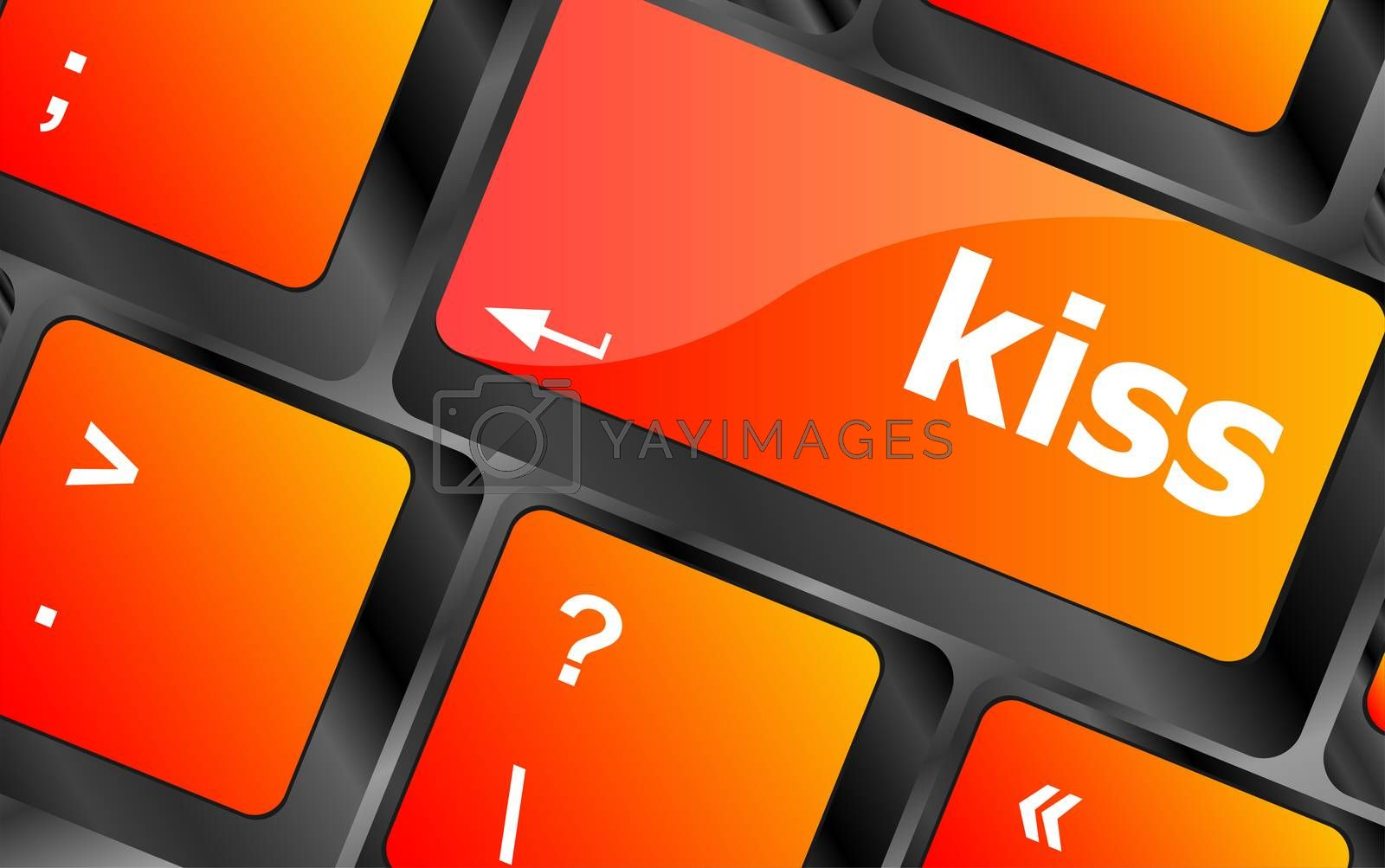 Key with the word kiss on it, on a computer keyboard. Laptop button
