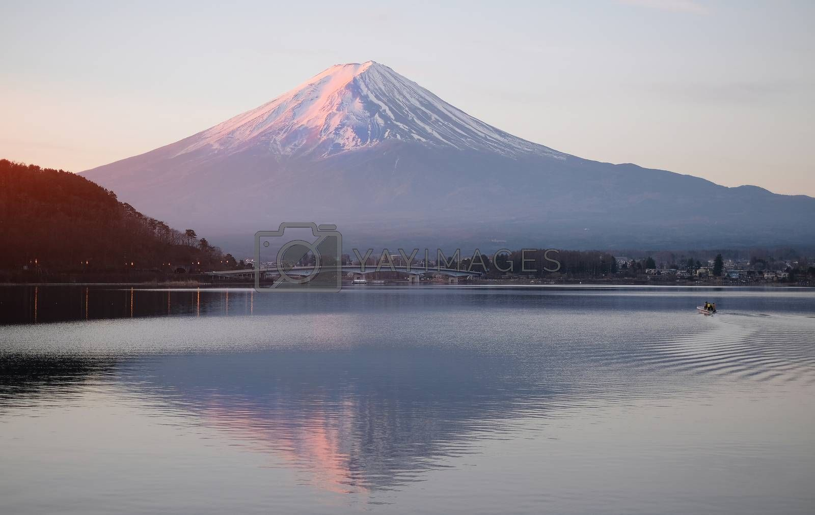 Beautiful sunrise view of  Mountain Fuji and Lake Kawaguchiko in Japan
