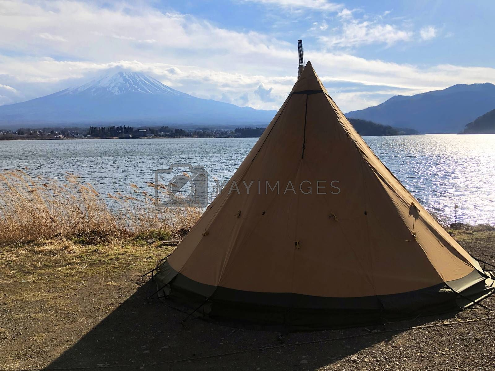 Camping field with mount Fuji view in Kawaguchiko lake at Japan