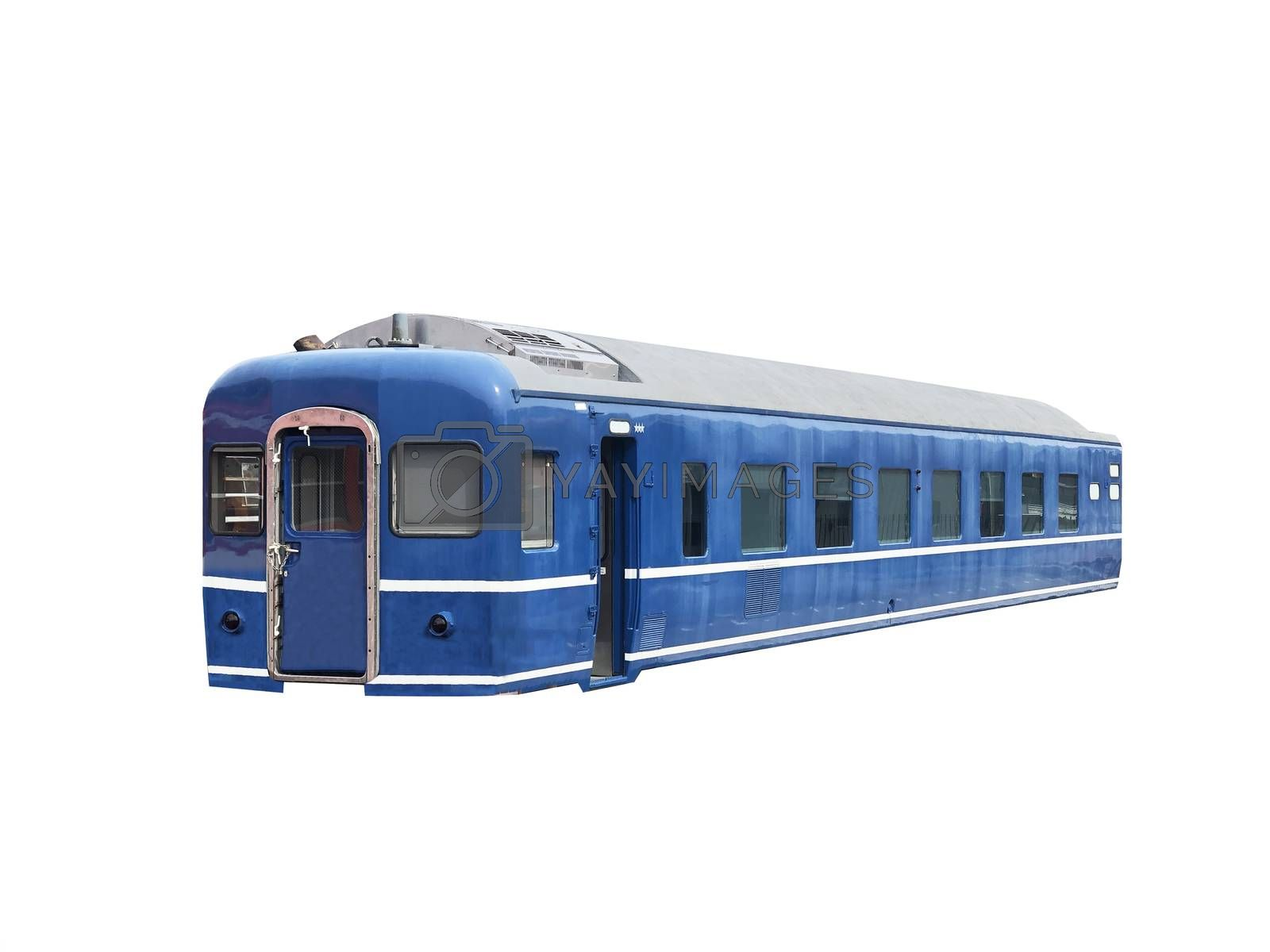 Vintage blue train on white background.