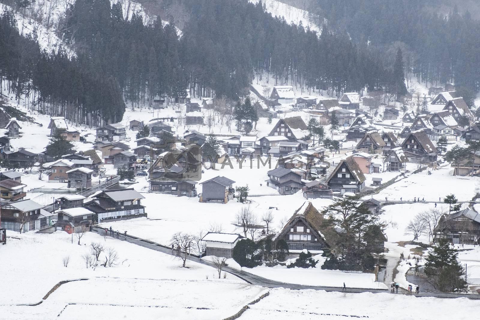 World Heritage Site Shirakawago Village in Winter, Japan