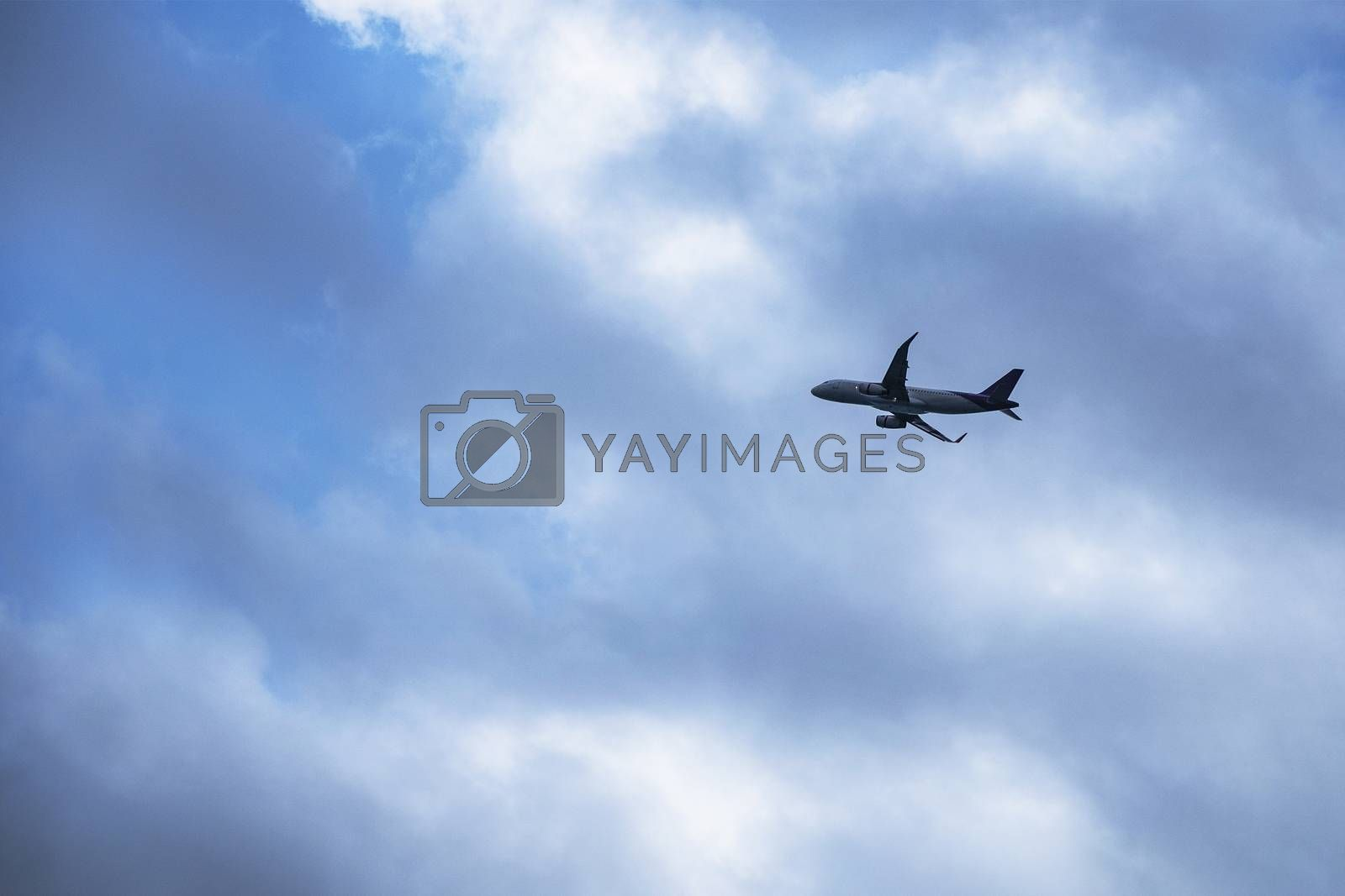 Airplane flying in the strom