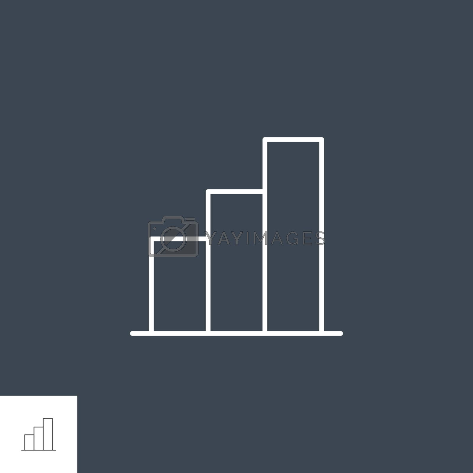 Bar Chart Related Vector Line Icon. Isolated on Black Background. Editable Stroke.