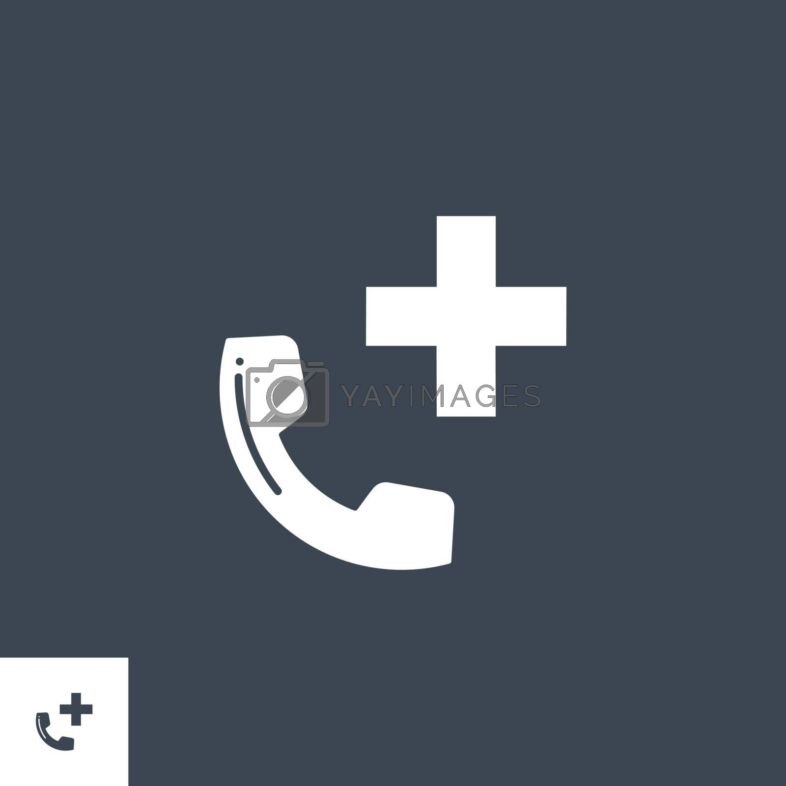 Emergency Phone related vector glyph icon. Isolated on black background. Vector illustration.