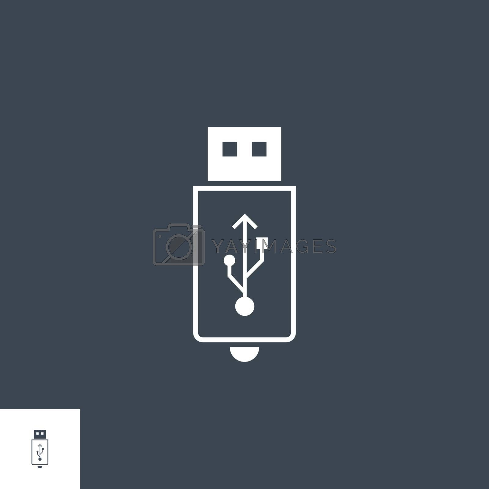 USB related vector glyph icon. Isolated on black background. Vector illustration.