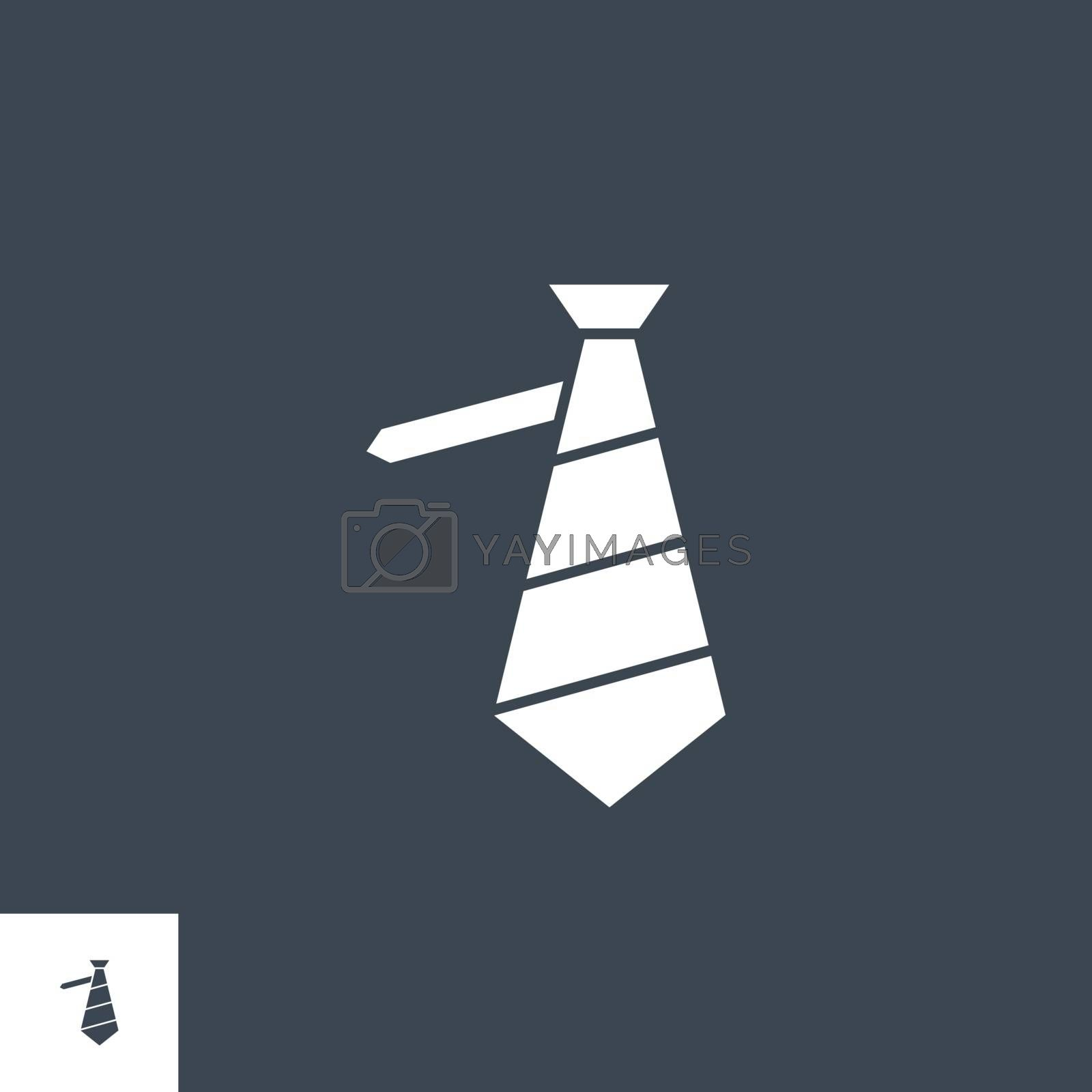 Necktie related vector glyph icon. Isolated on black background. Vector illustration.