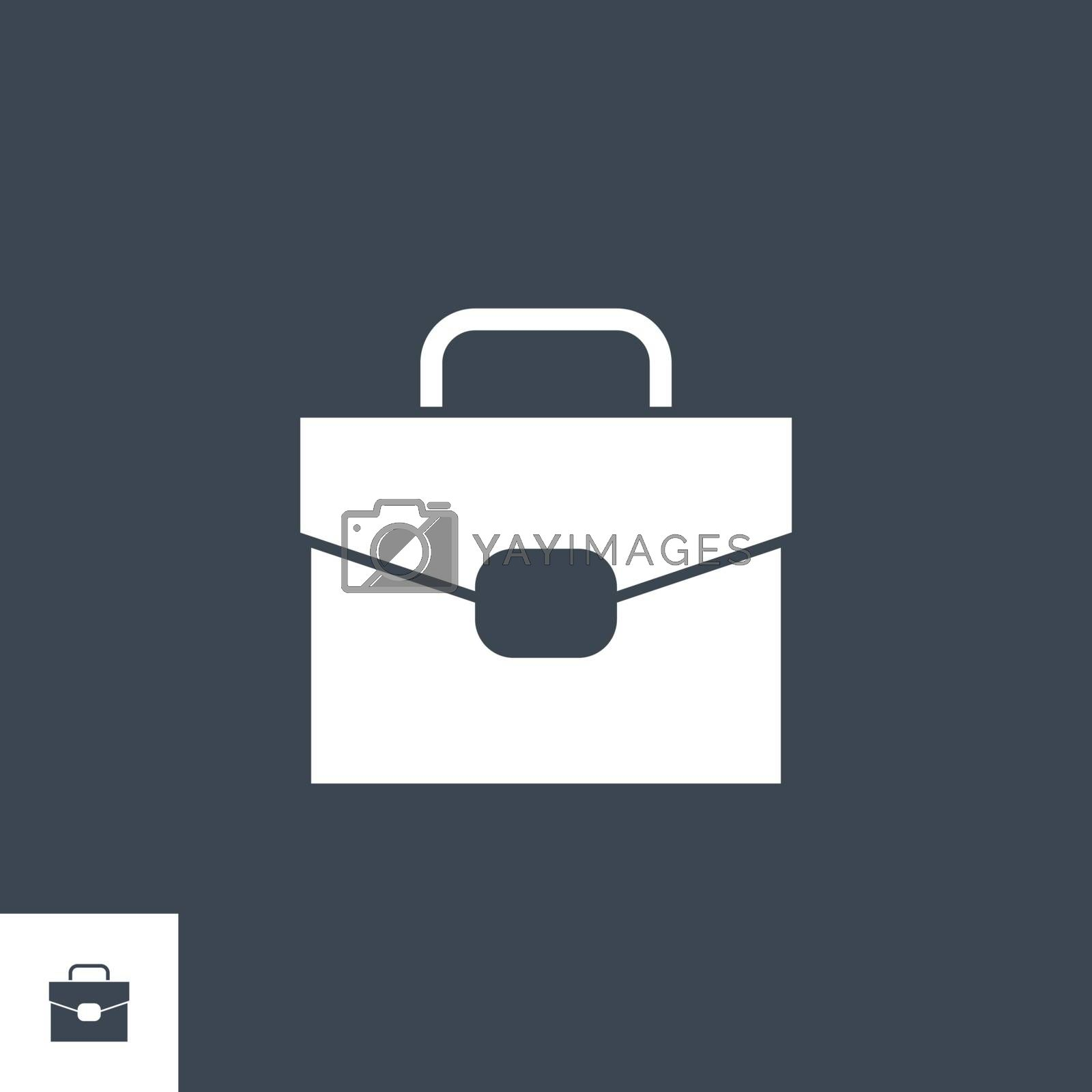 Briefcase related vector glyph icon. Isolated on black background. Vector illustration.