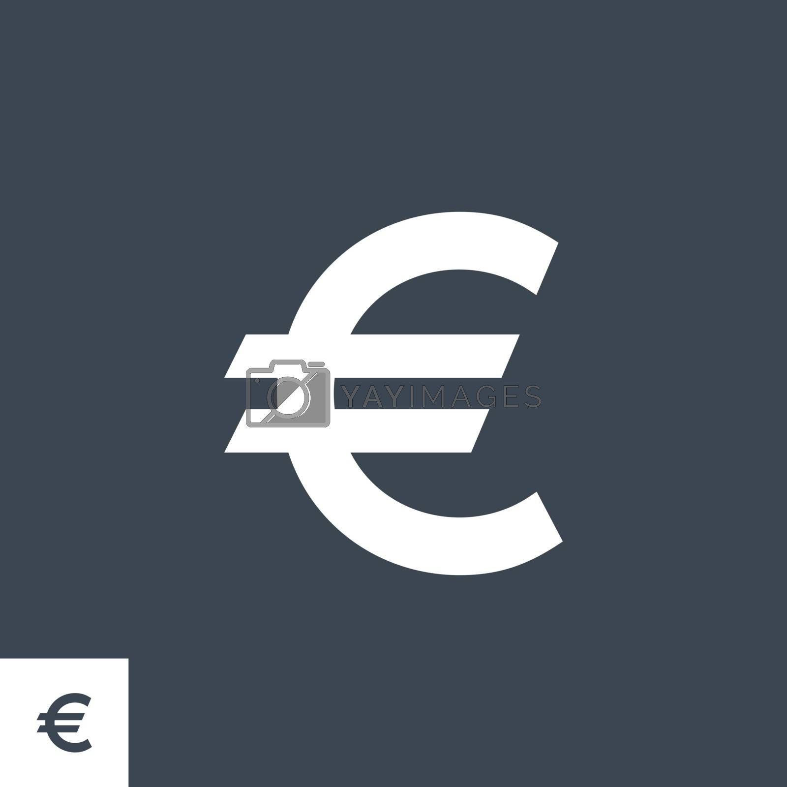 Euro Sign related vector glyph icon. Isolated on black background. Vector illustration.