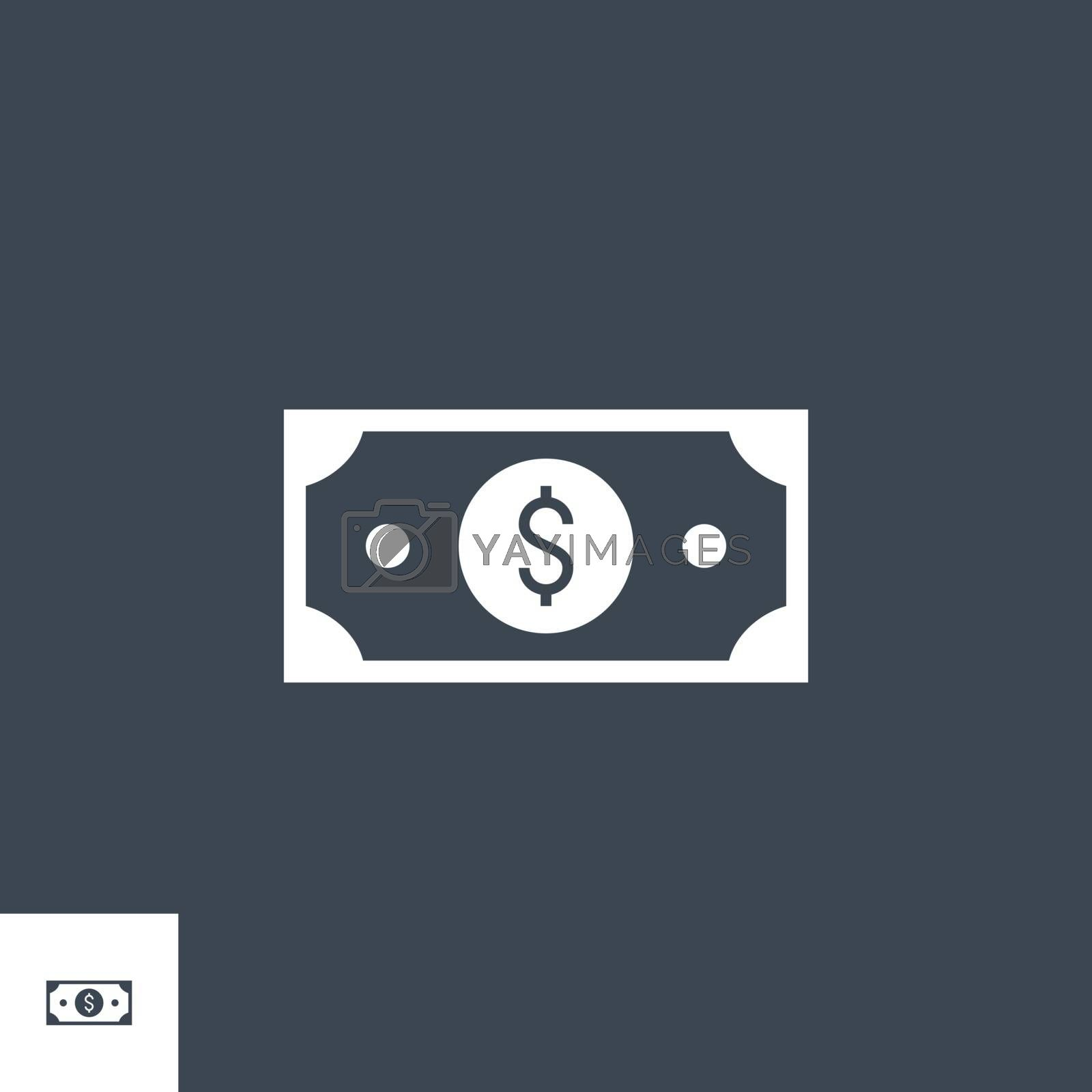 Dollar related vector glyph icon. Isolated on black background. Vector illustration.