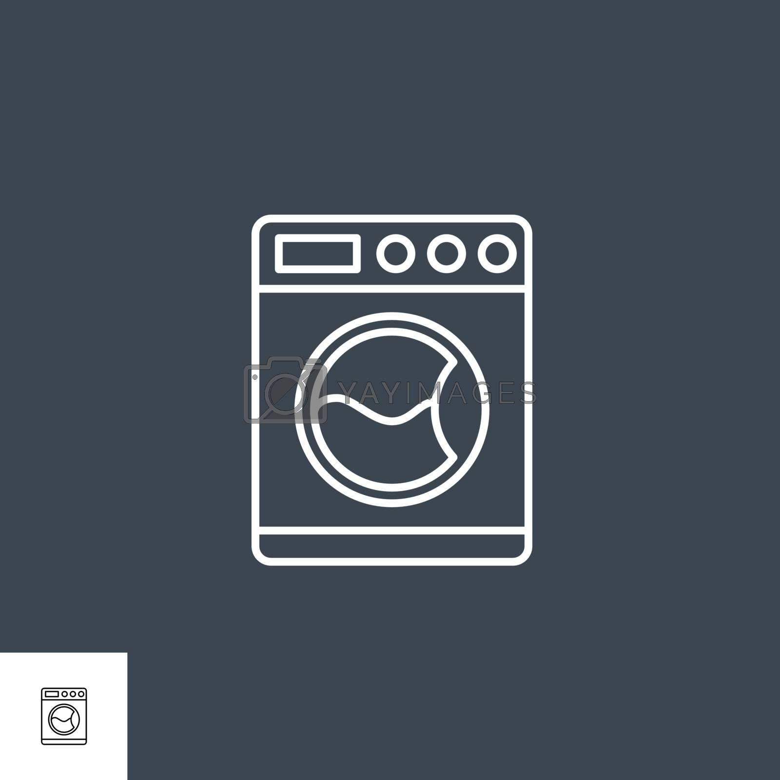 Washing Machine Related Vector Line Icon. by smoki