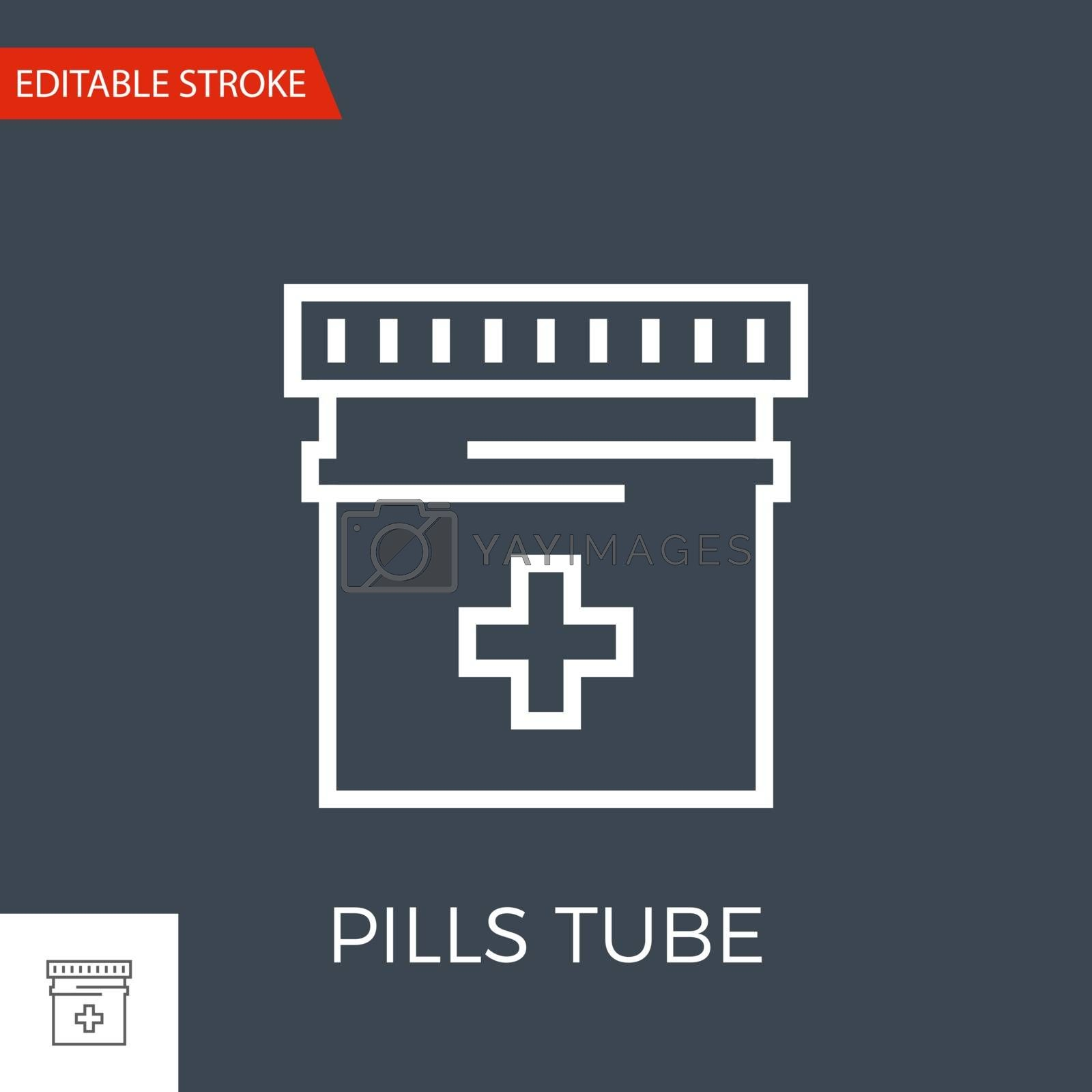 Pills Bottle Related Vector Line Icon. Drugs. Isolated on Black Background. Editable Stroke.