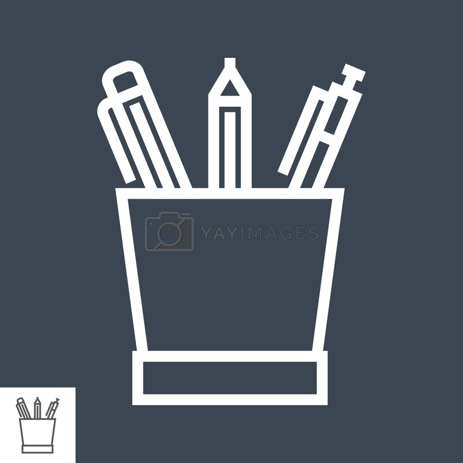 Pencil Stand Thin Line Vector Icon Isolated on the Black Background.