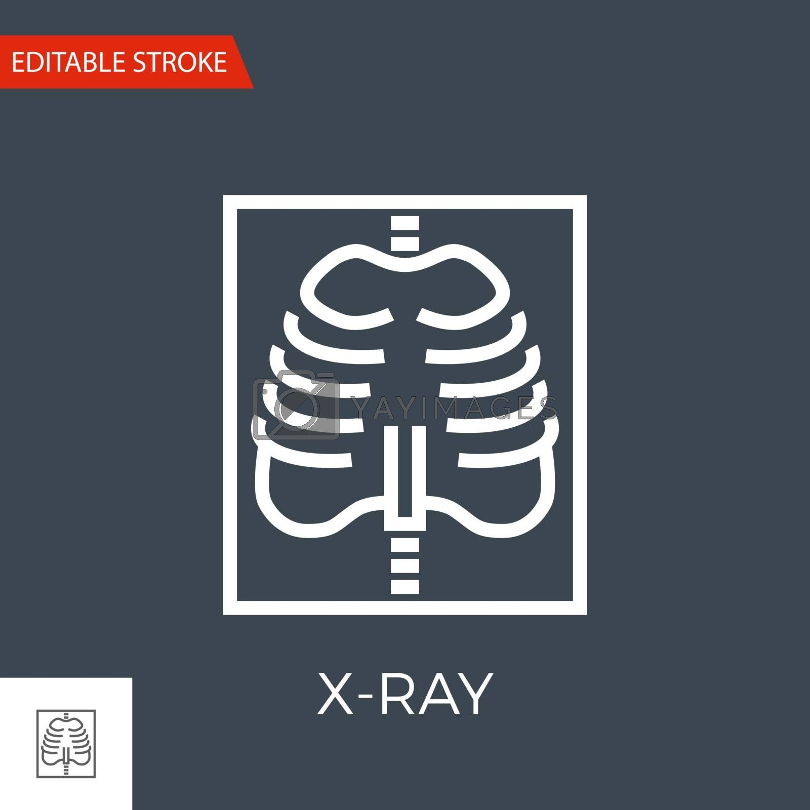 X-ray Thin Line Vector Icon. Flat Icon Isolated on the Black Background. Editable Stroke EPS file. Vector illustration.