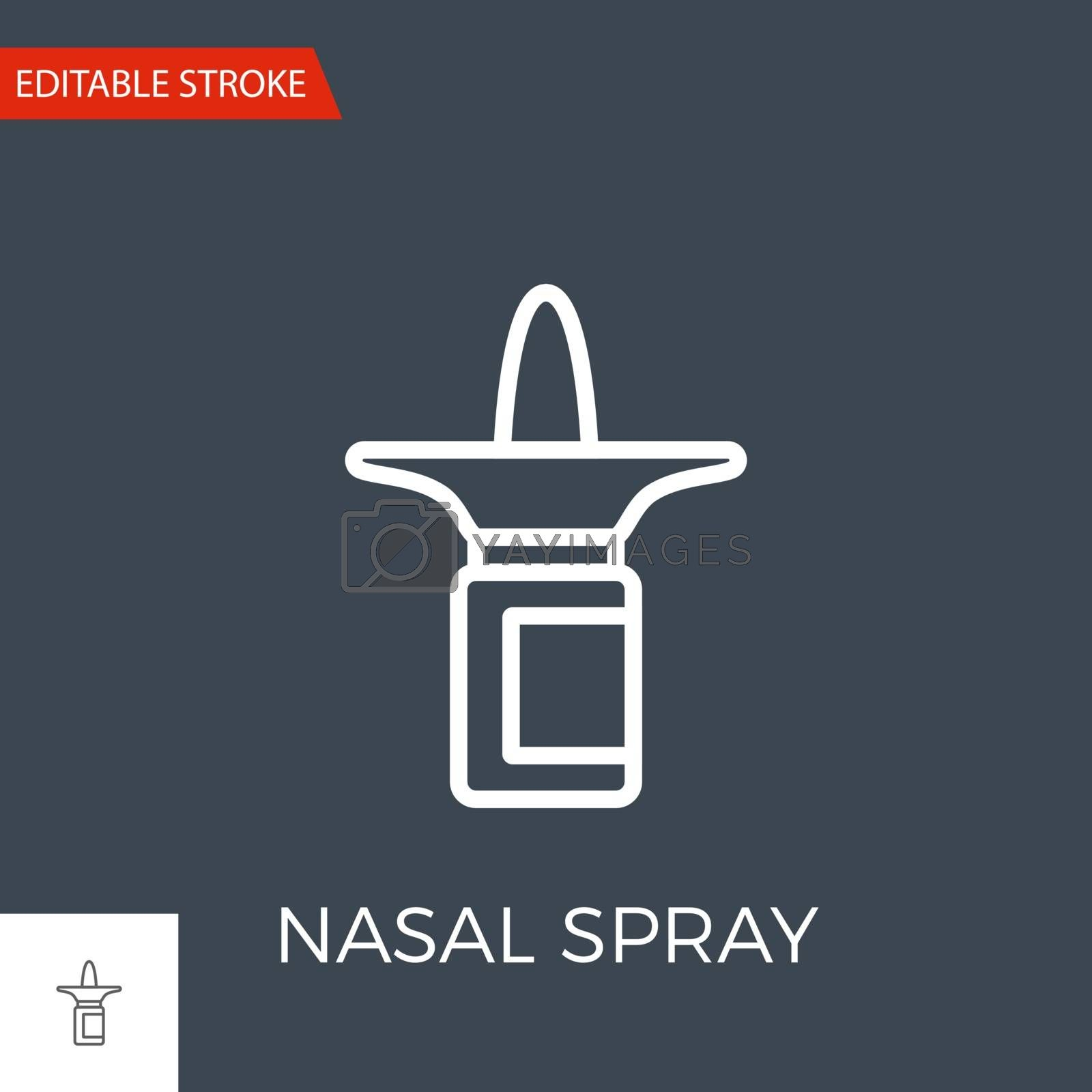 Nasal Spray Thin Line Vector Icon. Flat Icon Isolated on the Black Background. Editable Stroke EPS file. Vector illustration.