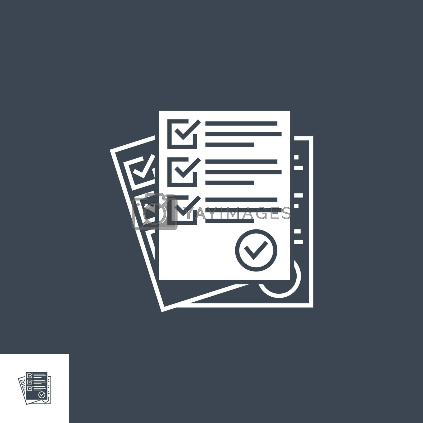 Questionnaire related vector glyph icon. Isolated on black background. Vector illustration.