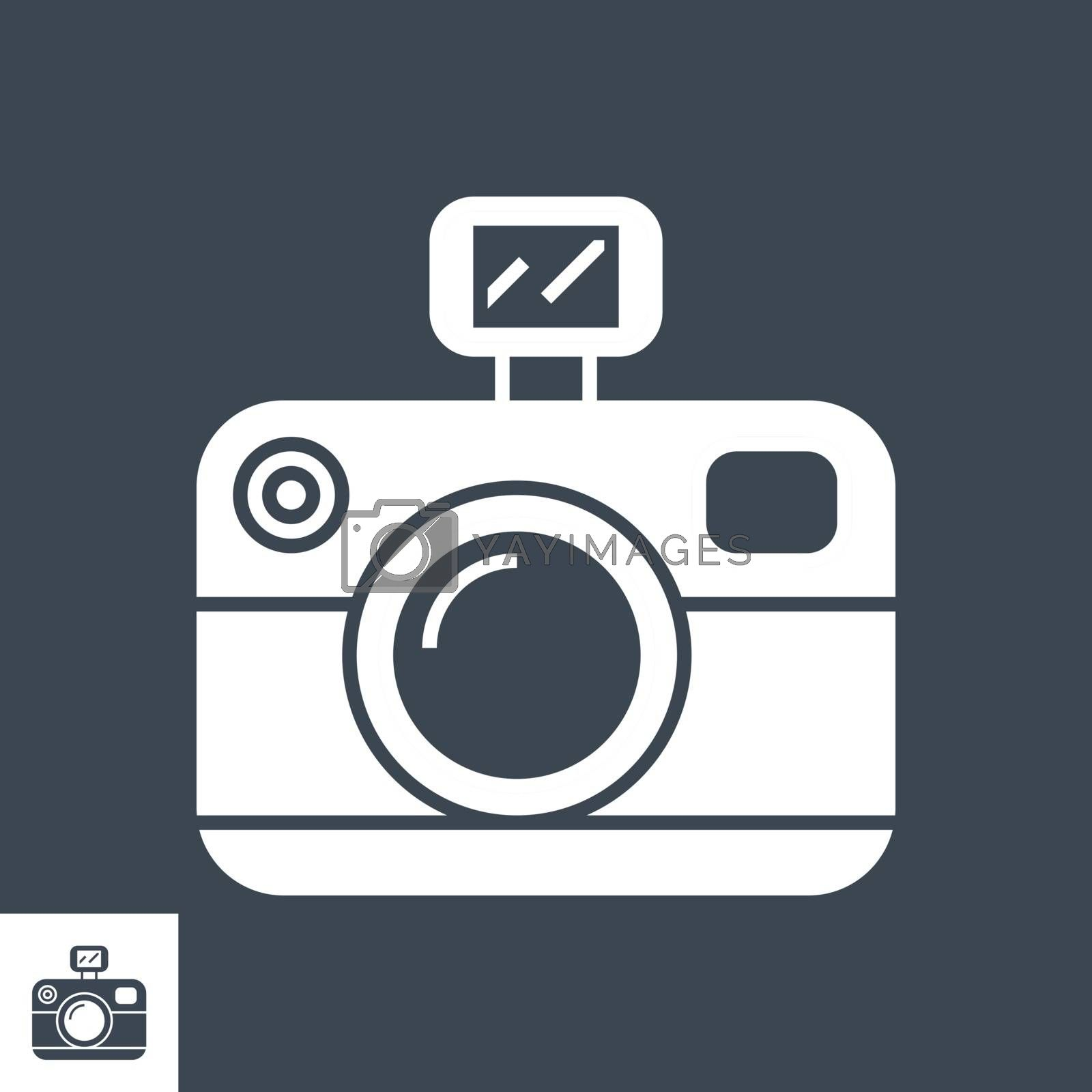 Photo Presentation Related Vector Glyph Icon. Isolated on Black Background. Vector Illustration.