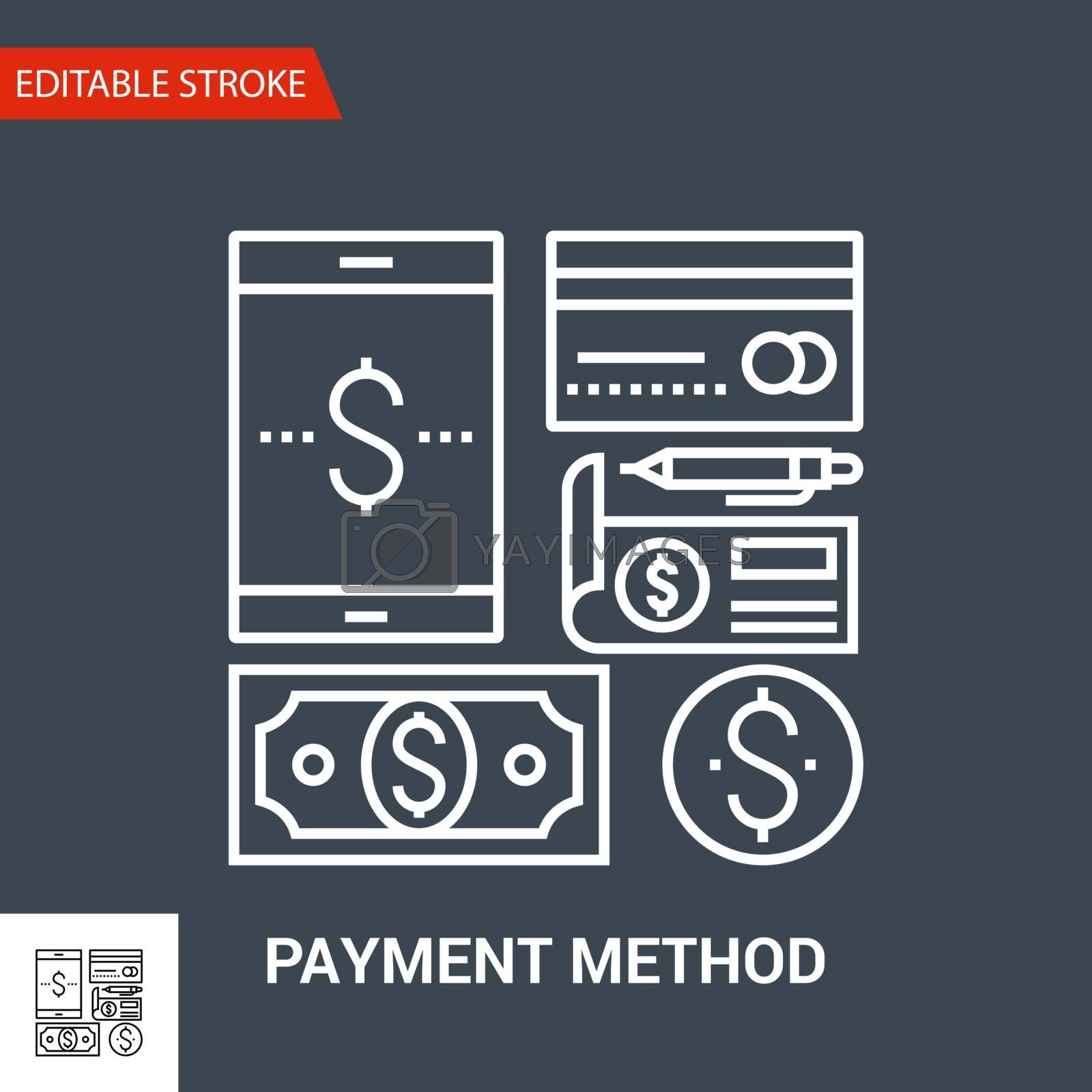 Payment Method Related Vector Thin Line Icon. Isolated on Black Background. Editable Stroke. Vector Illustration.