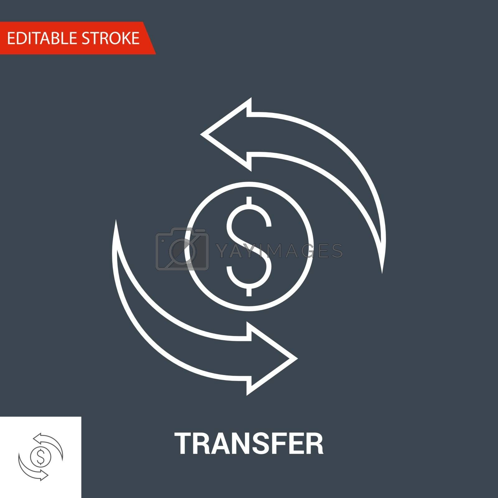 Transfer Icon. Thin Line Vector Illustration - Adjust stroke weight - Expand to any Size - Easy Change Colour - Editable Stroke