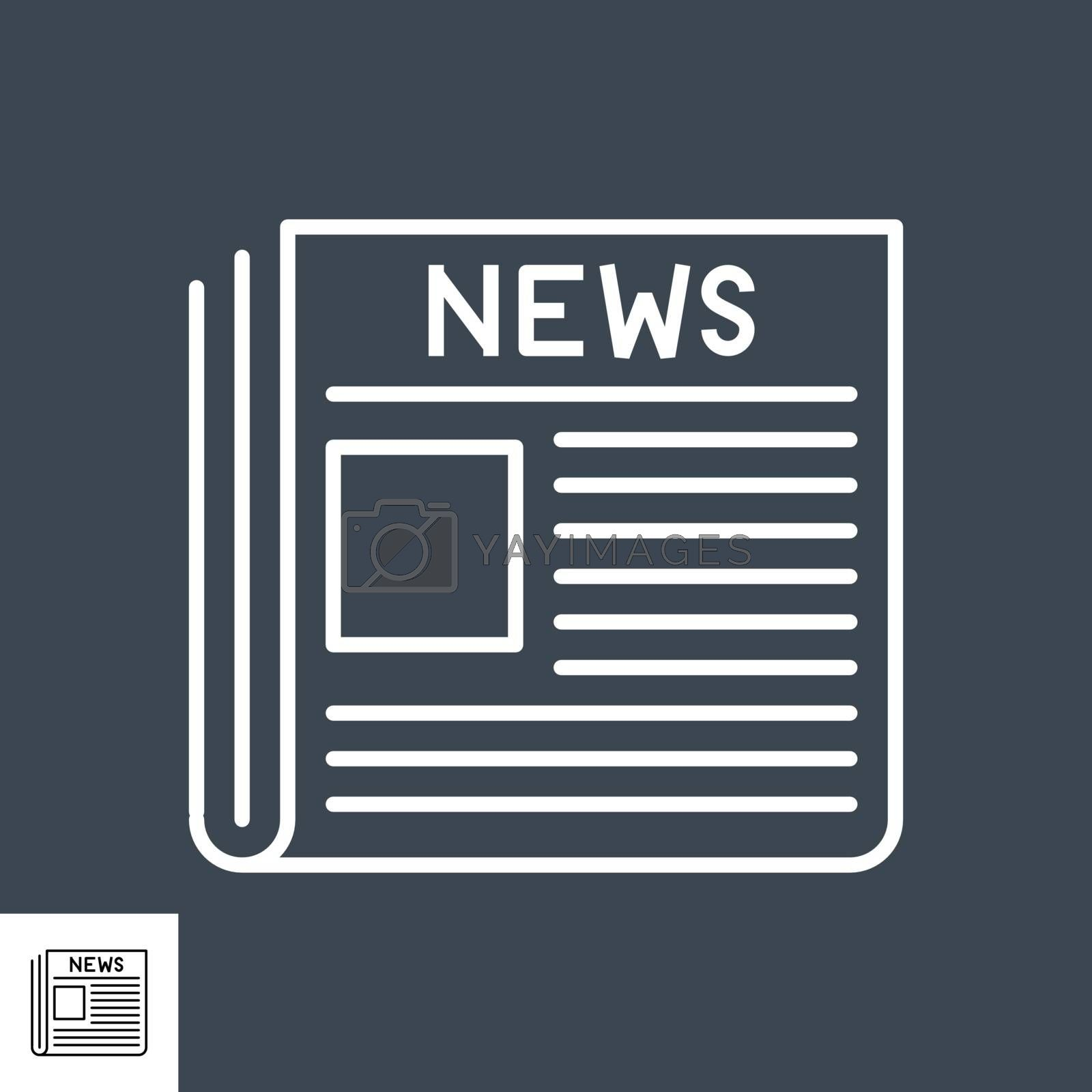 Newspaper Thin Line Vector Icon. Flat icon isolated on the black background. Editable EPS file. Vector illustration.