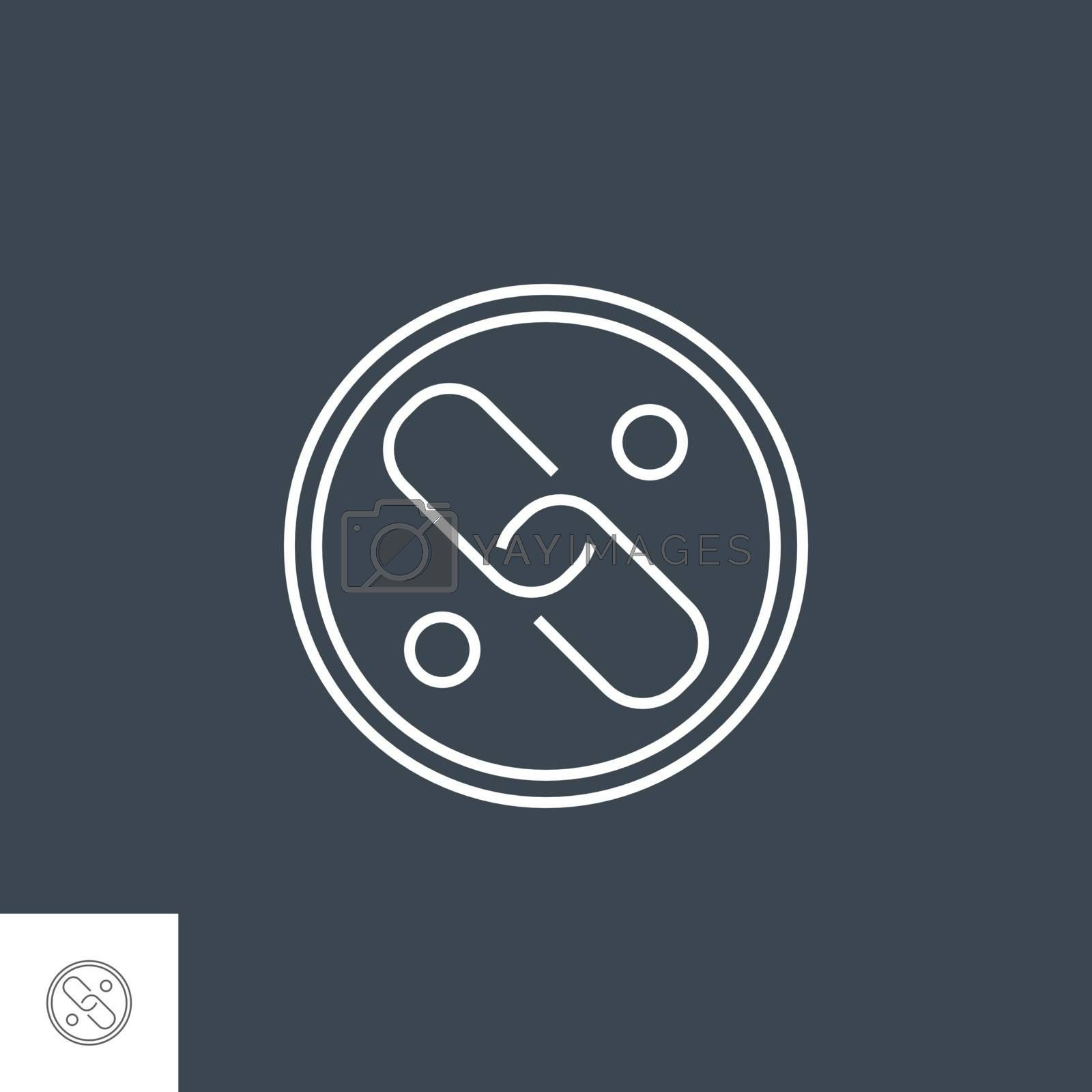 Link Related Vector Thin Line Icon. Isolated on Black Background. Editable Stroke. Vector Illustration.