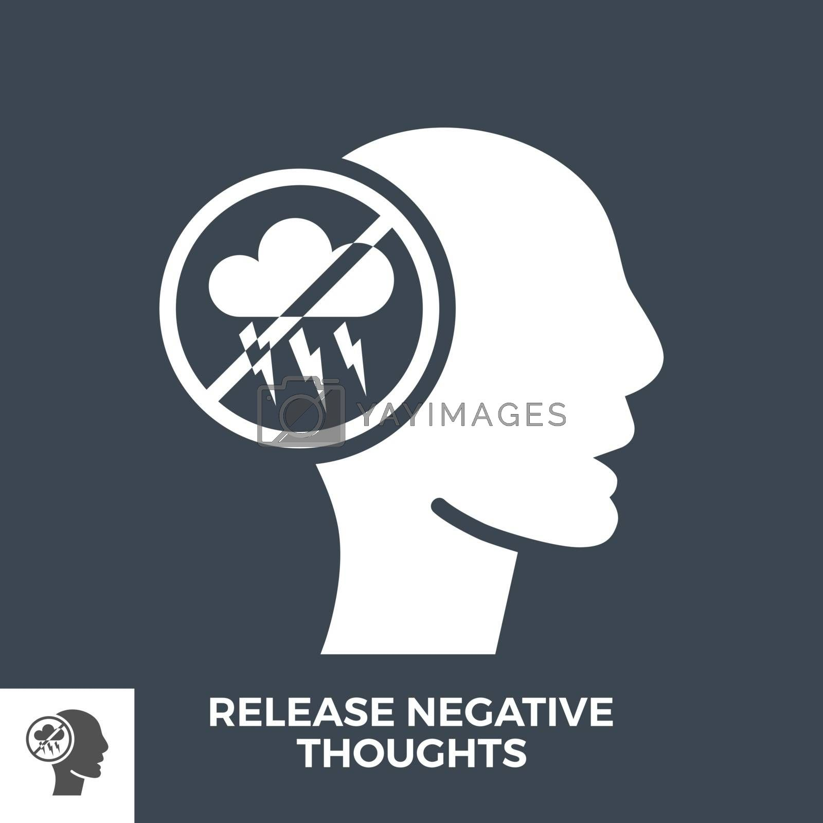 Release Negative Thoughts Glyph Vector Icon Isolated on the Black Background.
