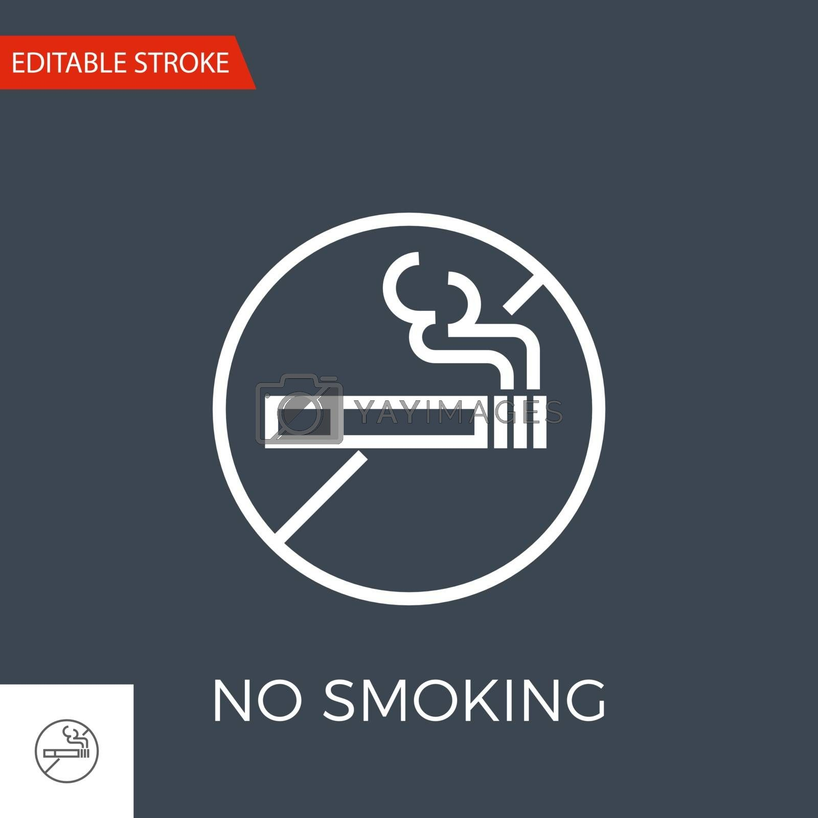 No Smoking Thin Line Vector Icon. Flat Icon Isolated on the Black Background. Editable Stroke EPS file. Vector illustration.