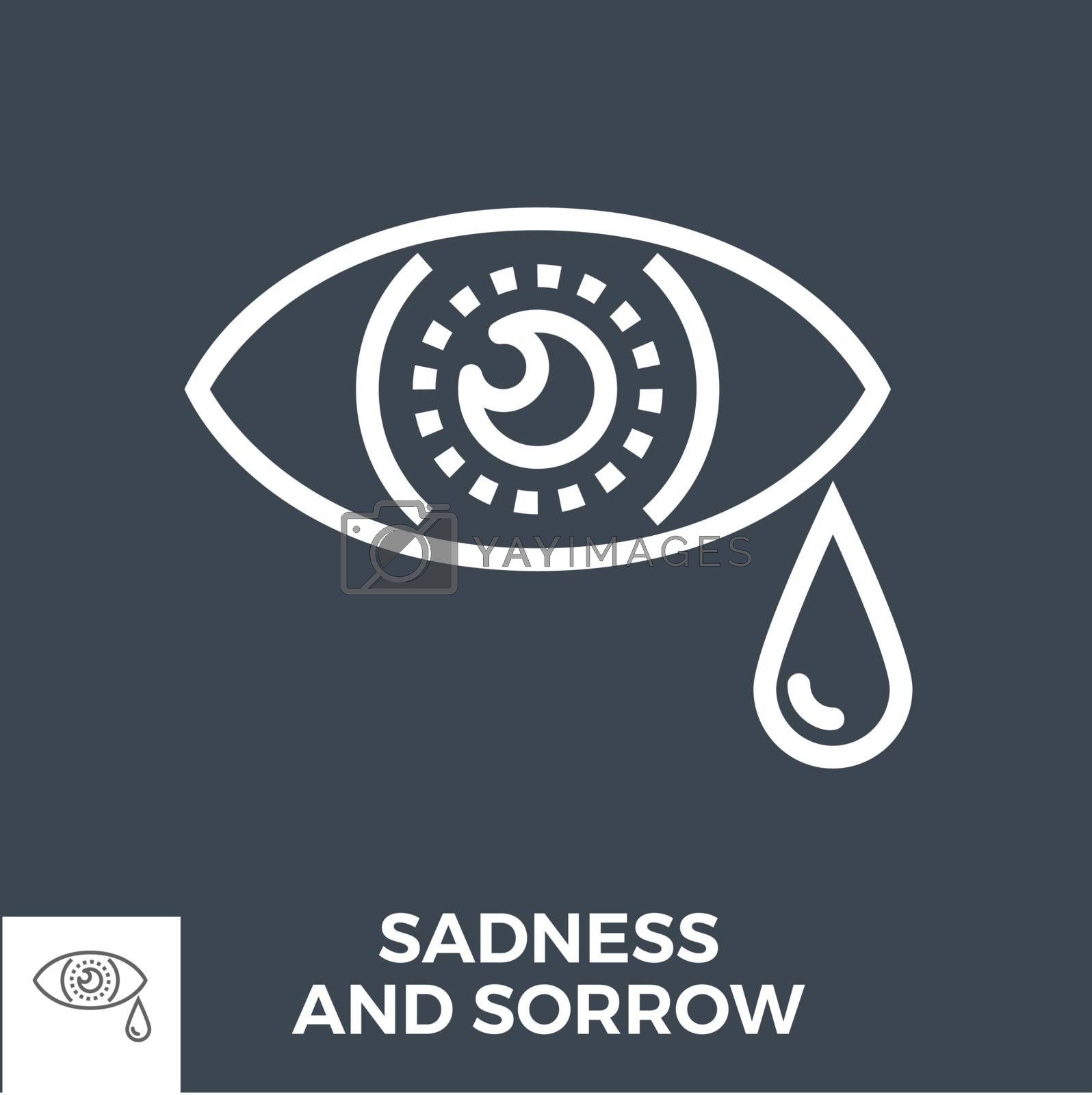 Sadness and Sorrow Thin Line Vector Icon Isolated on the Black Background.