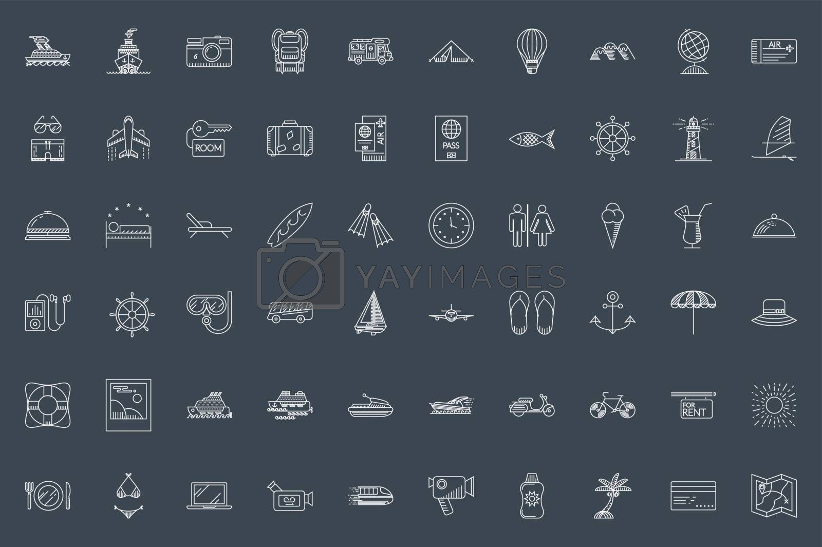 Travel Thin Line Related Icons Set on Black Background. Summer Holidays, Vacation and Travel. Simple Mono Linear Pictogram Pack Stroke Vector logo Concept for Web. Editable Stroke. 48x48 Pixel Perfect
