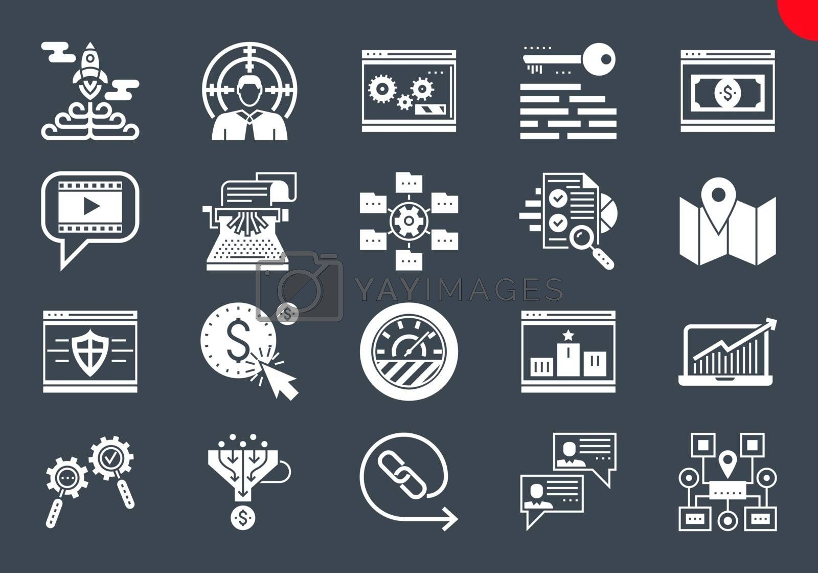SEO Glyph Icons Set. SEO Related Vector Glyph Icons. Website and APP Design and Development. Simple Glyph Pictogram Pack. Stroke Vector Logo Concept, Web Graphic. Vector icons.