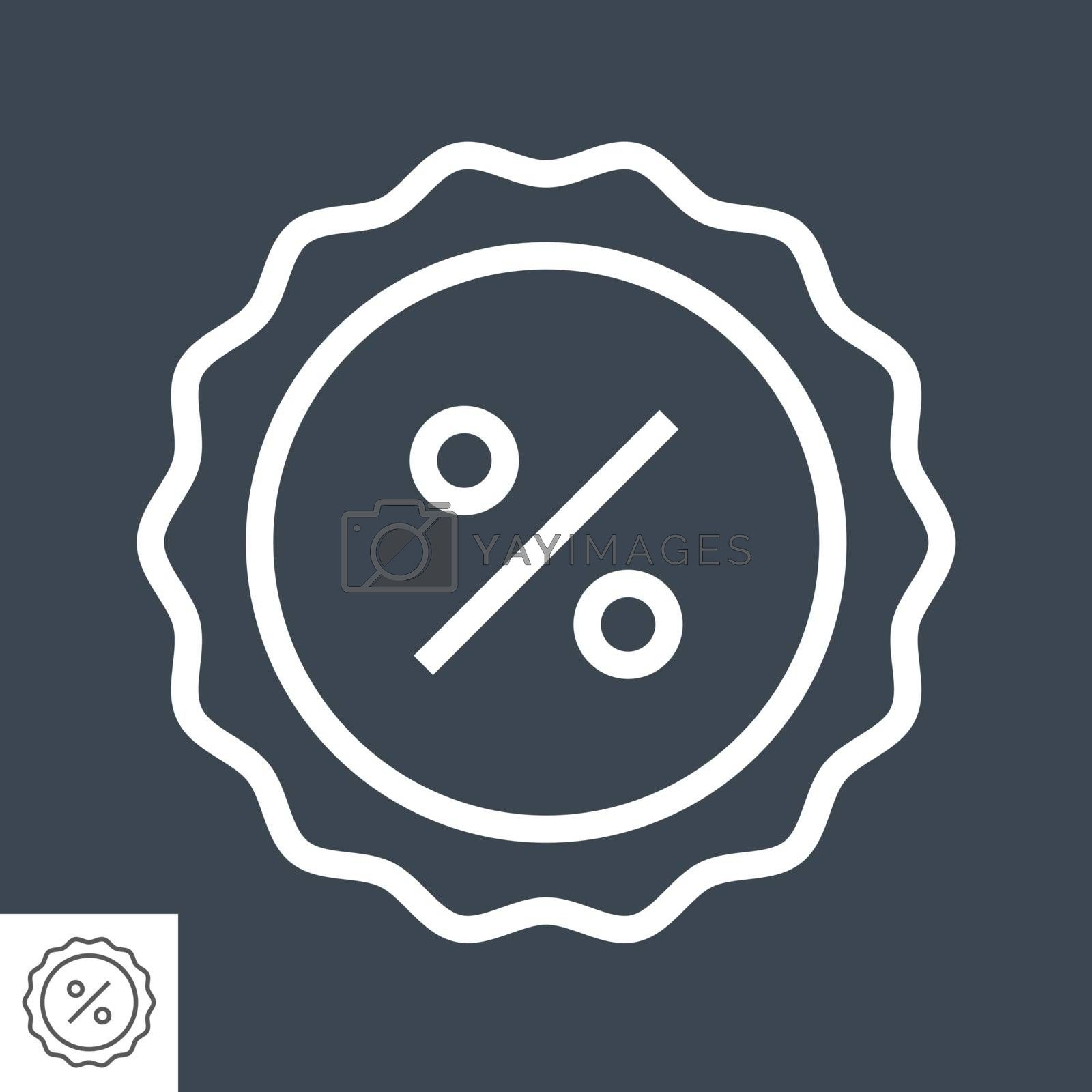Percent Badge Thin Line Vector Icon. Flat icon isolated on the black background. Editable EPS file. Vector illustration.