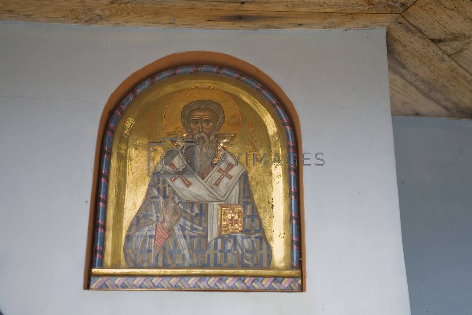 Royalty free image of  large paintings on the temple wall with Orthodox religious symb by Lukrecja